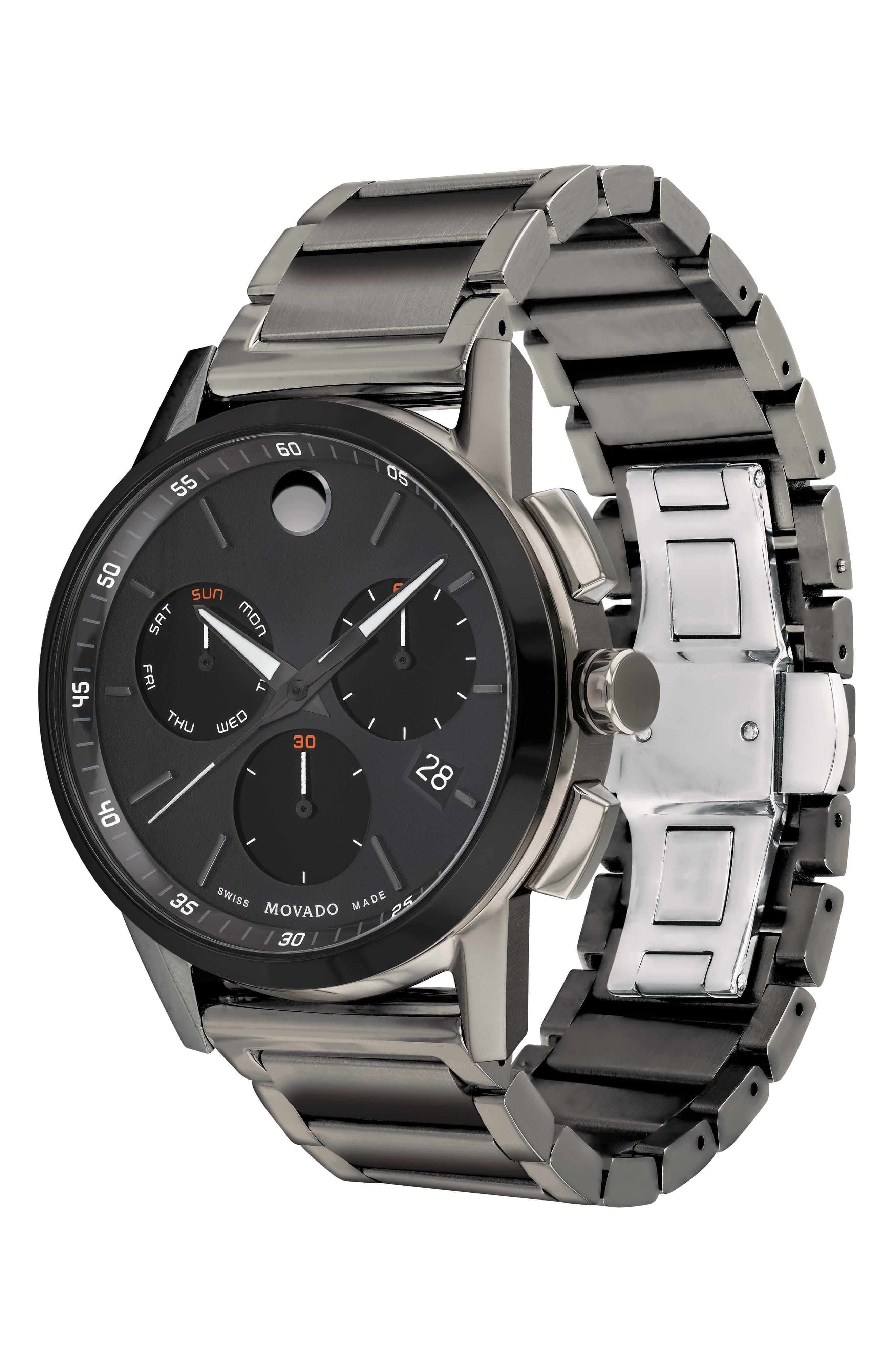 Museum Sport Chronograph Bracelet Watch, 43mm,                             Alternate thumbnail 3, color,                             GUNMETAL/ BLACK