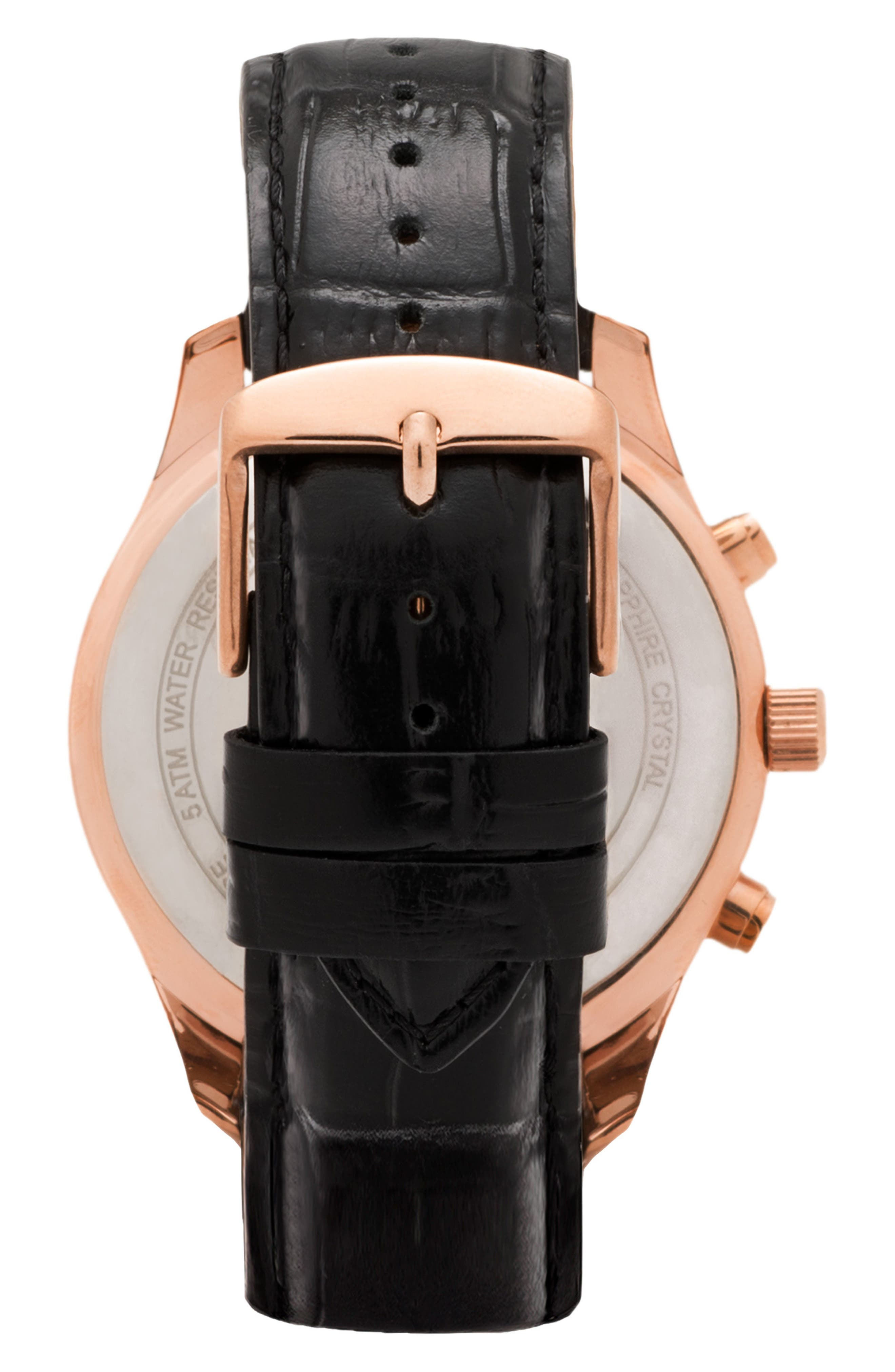 Leonard & Church Astor Chronograph Leather Strap Watch, 45mm,                             Alternate thumbnail 2, color,                             BLACK/ ROSE GOLD