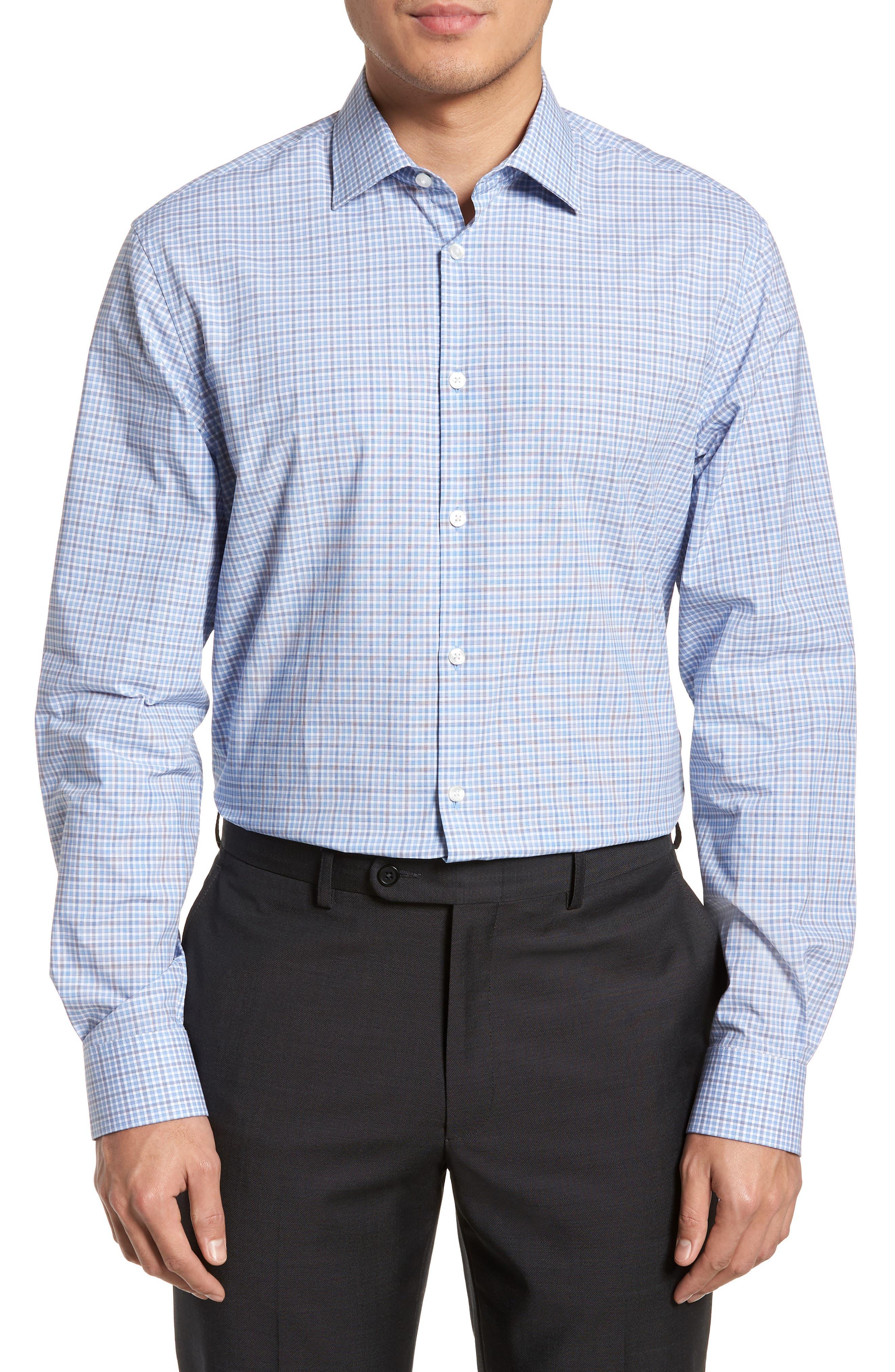 Regular Fit Stretch Check Dress Shirt,                         Main,                         color, SKY