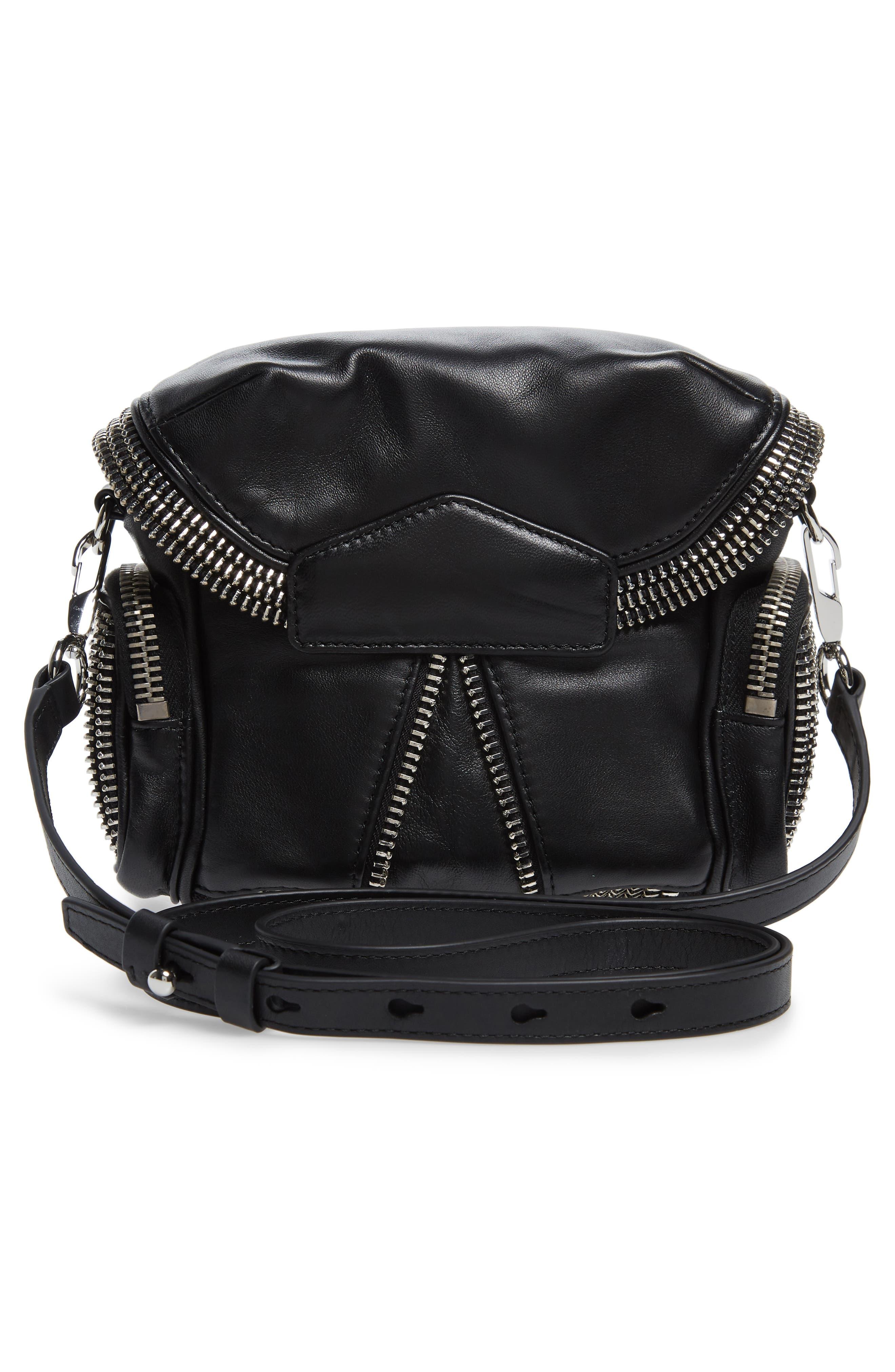 Micro Marti Leather Crossbody Bag,                             Alternate thumbnail 3, color,                             BLACK