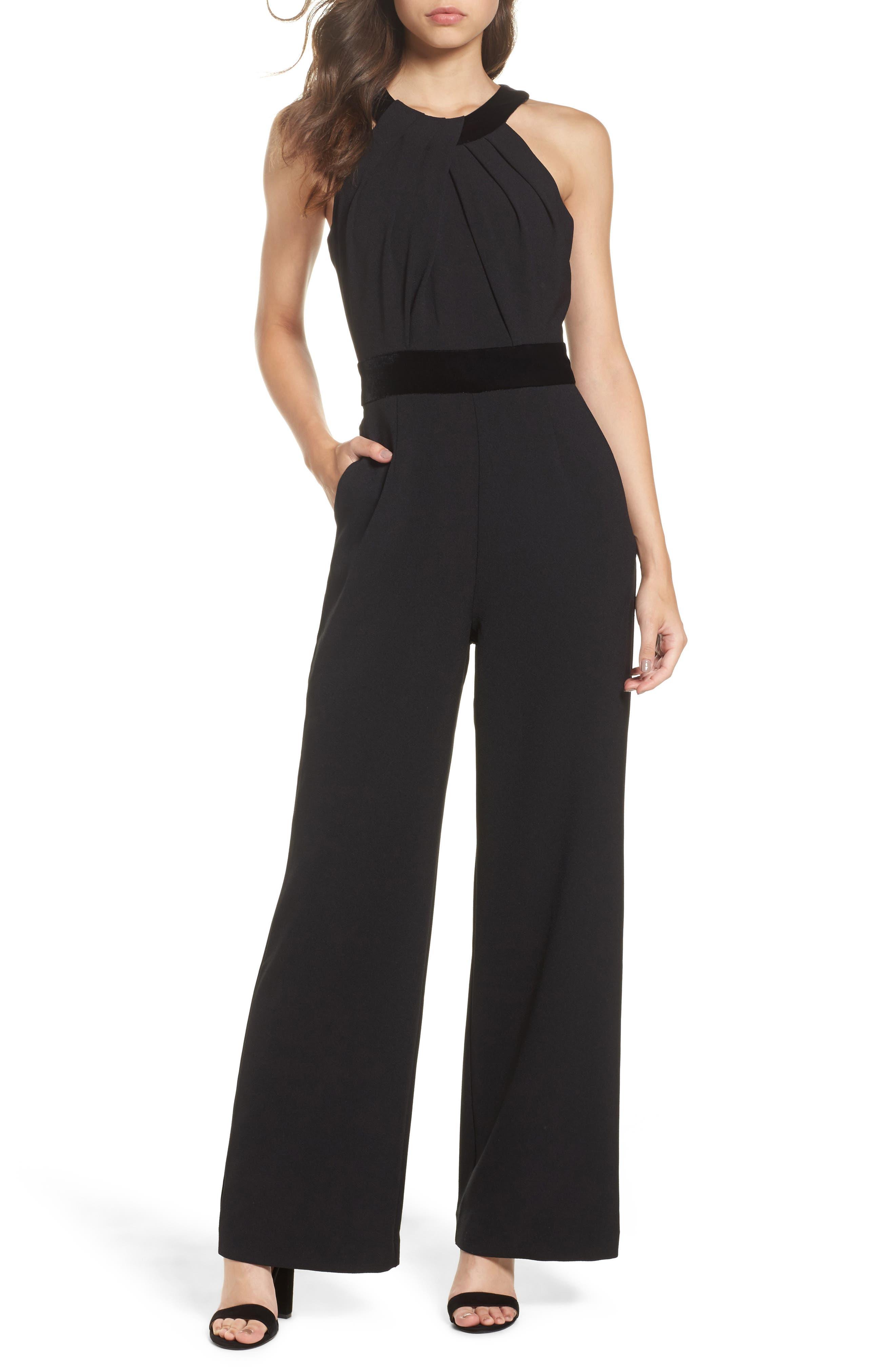 Crepe & Velvet Halter Jumpsuit,                         Main,                         color,