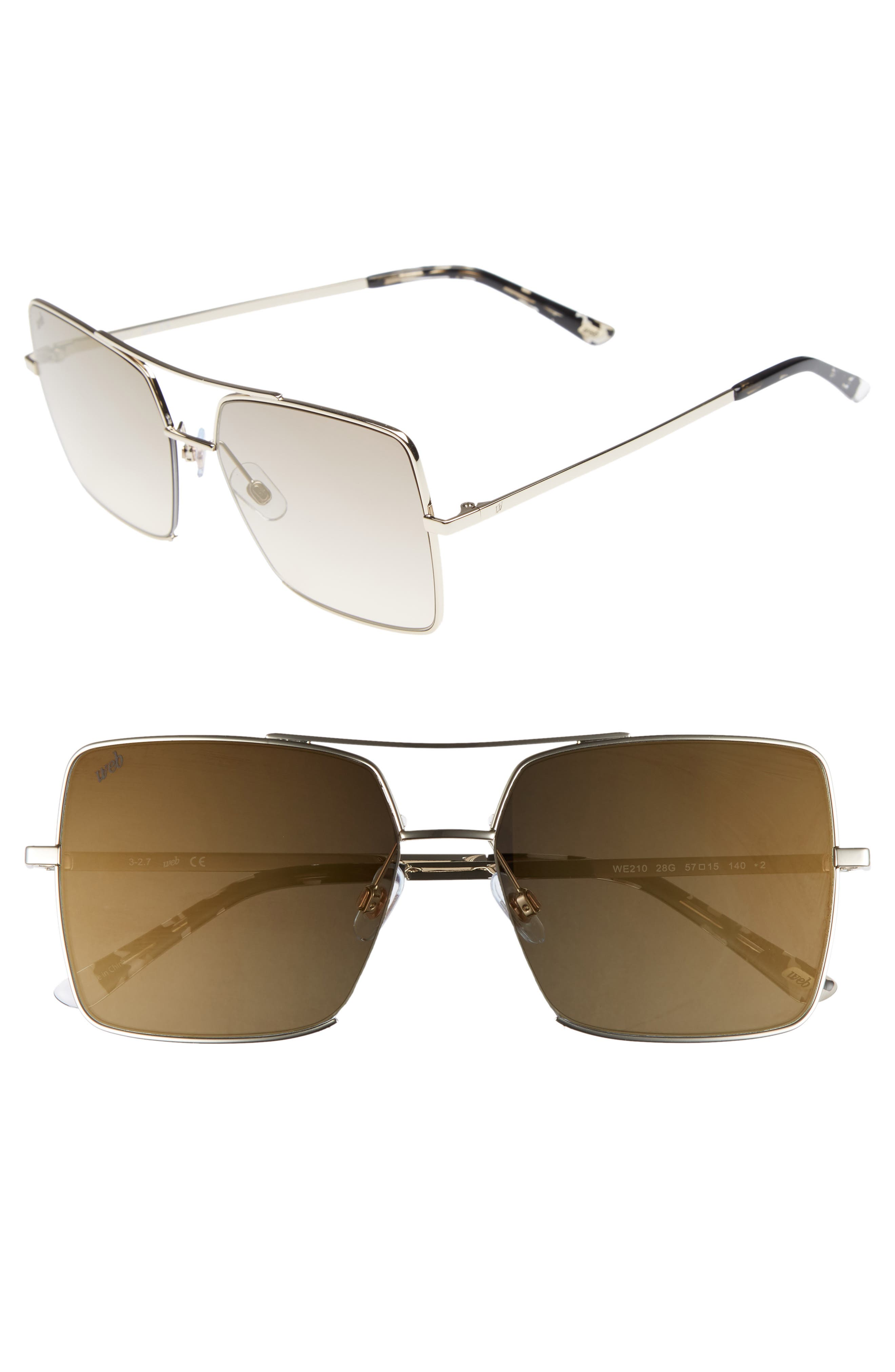 57mm Square Metal Aviator Sunglasses,                             Main thumbnail 1, color,                             GOLD/ BROWN