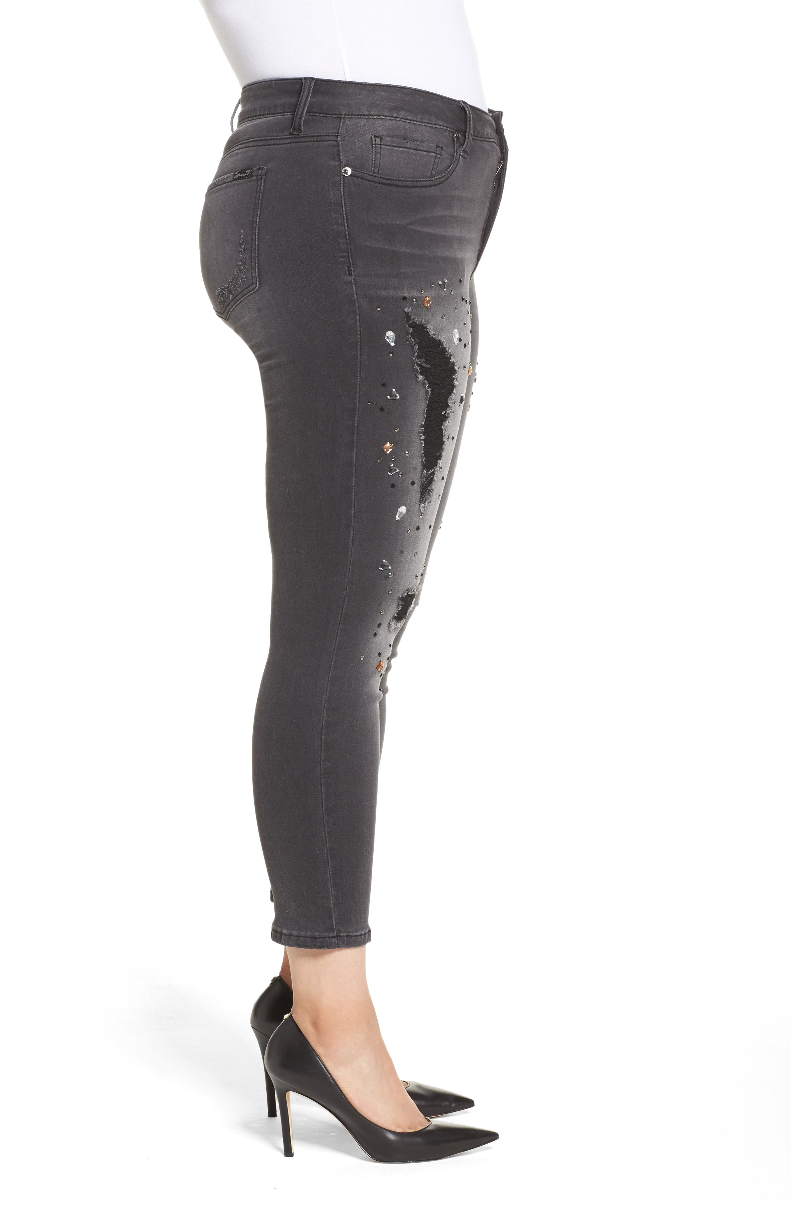 Embellished Ripped Skinny Jeans,                             Alternate thumbnail 3, color,                             027