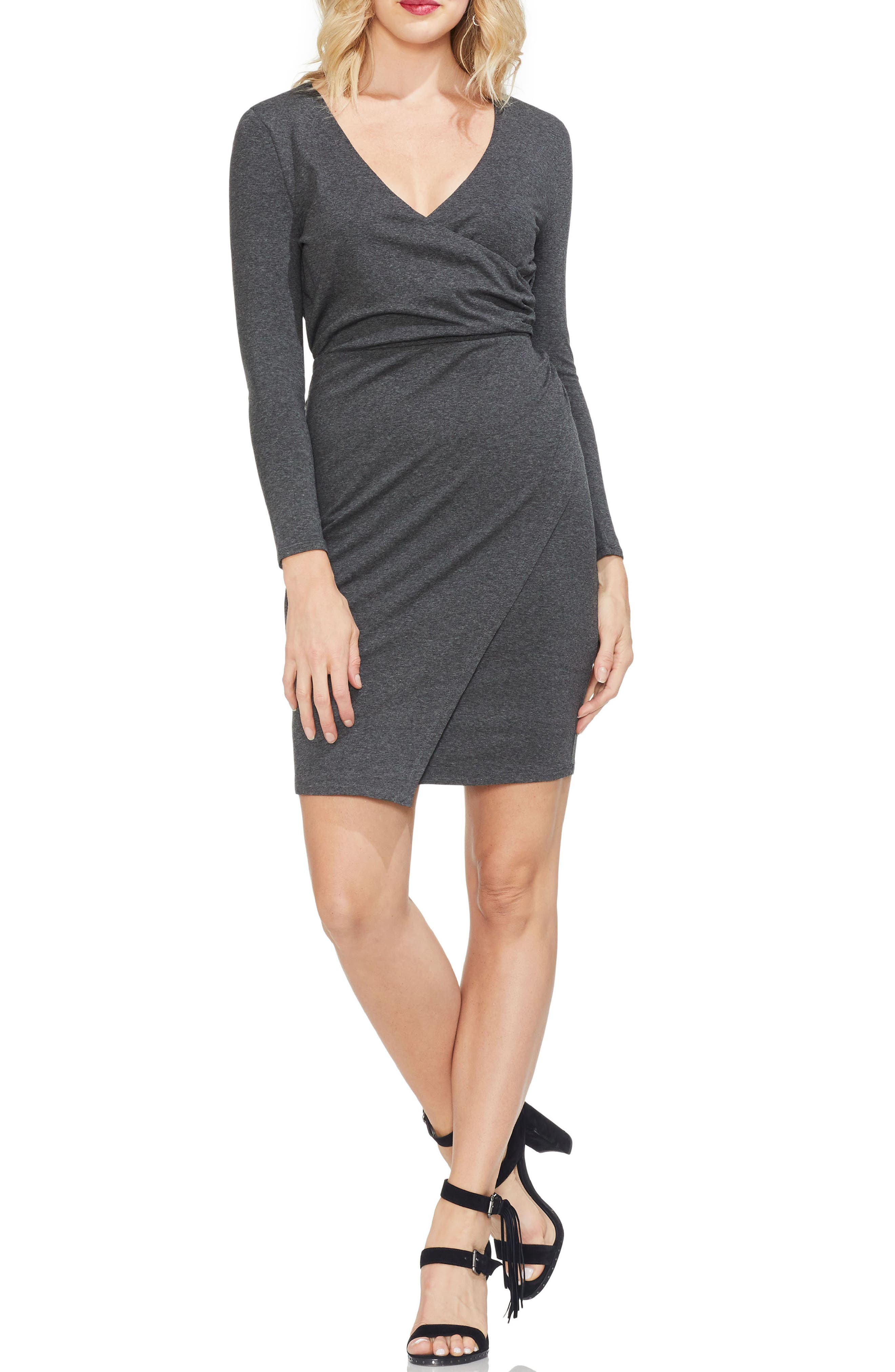 Vince Camuto Faux Wrap Front Dress, Grey