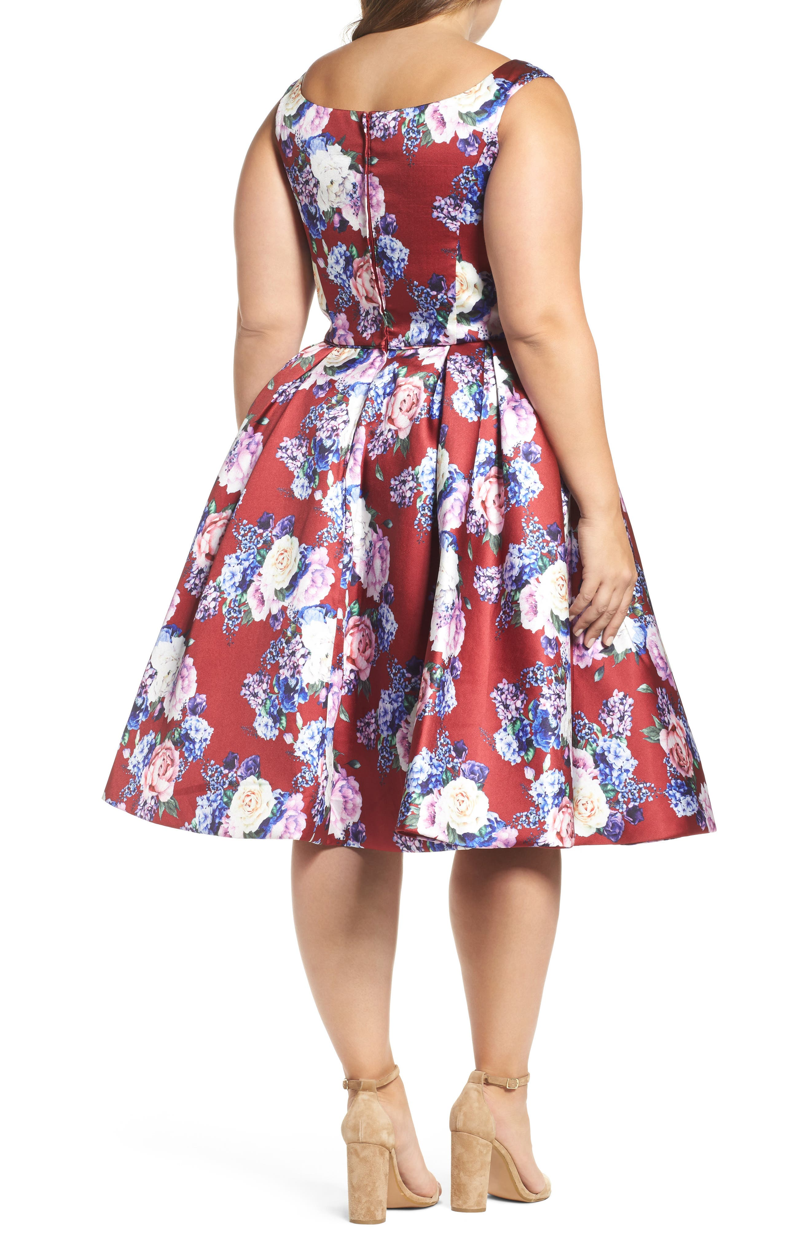 Floral Fit & Flare Dress,                             Alternate thumbnail 2, color,                             605