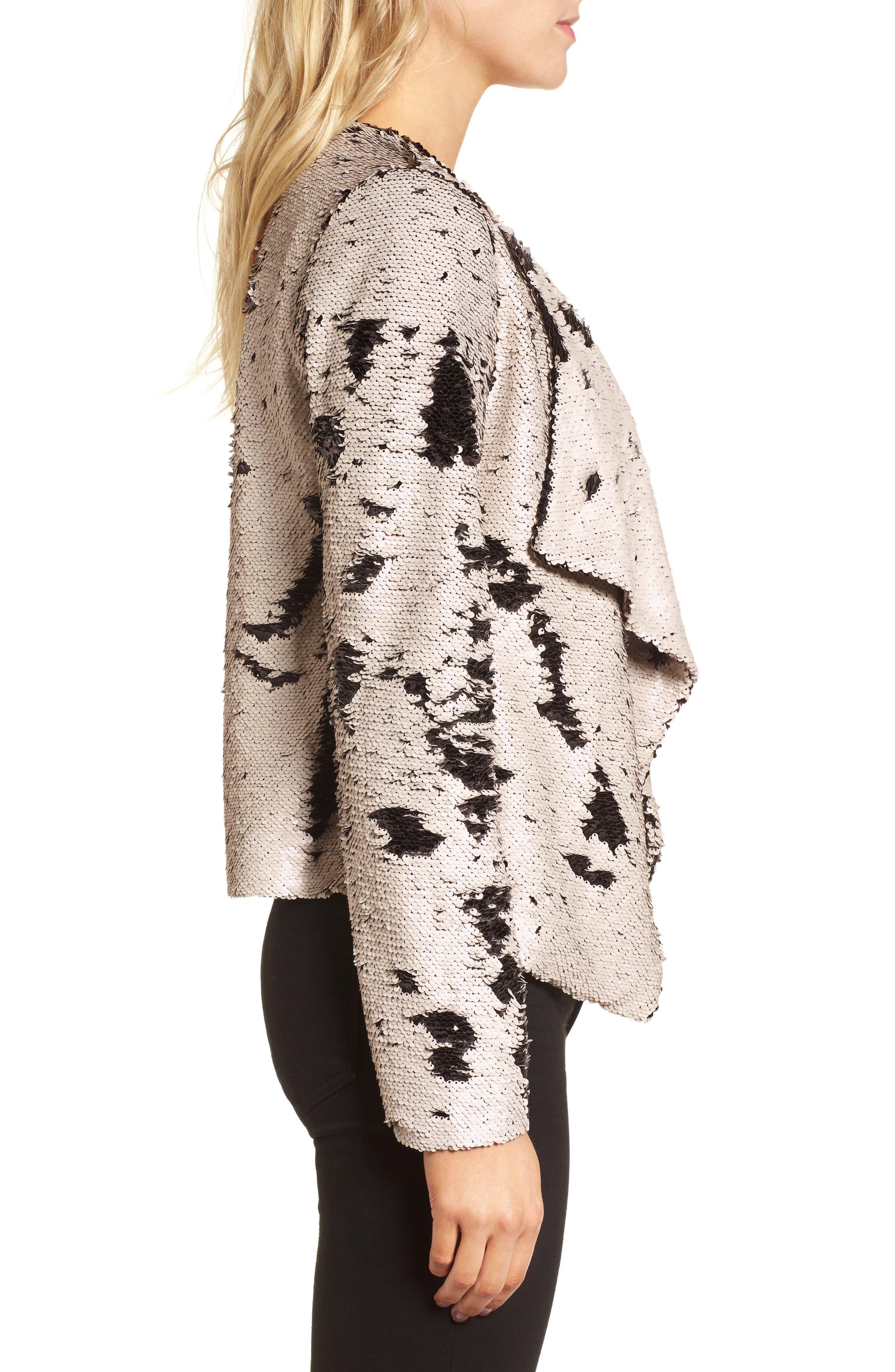 Bellwood Sequin Drape Front Jacket,                             Alternate thumbnail 3, color,                             250