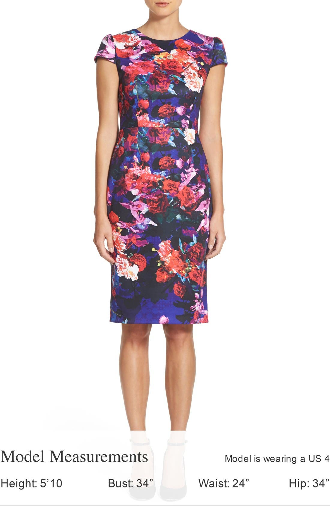 Print Stretch Midi Dress,                             Alternate thumbnail 5, color,                             002