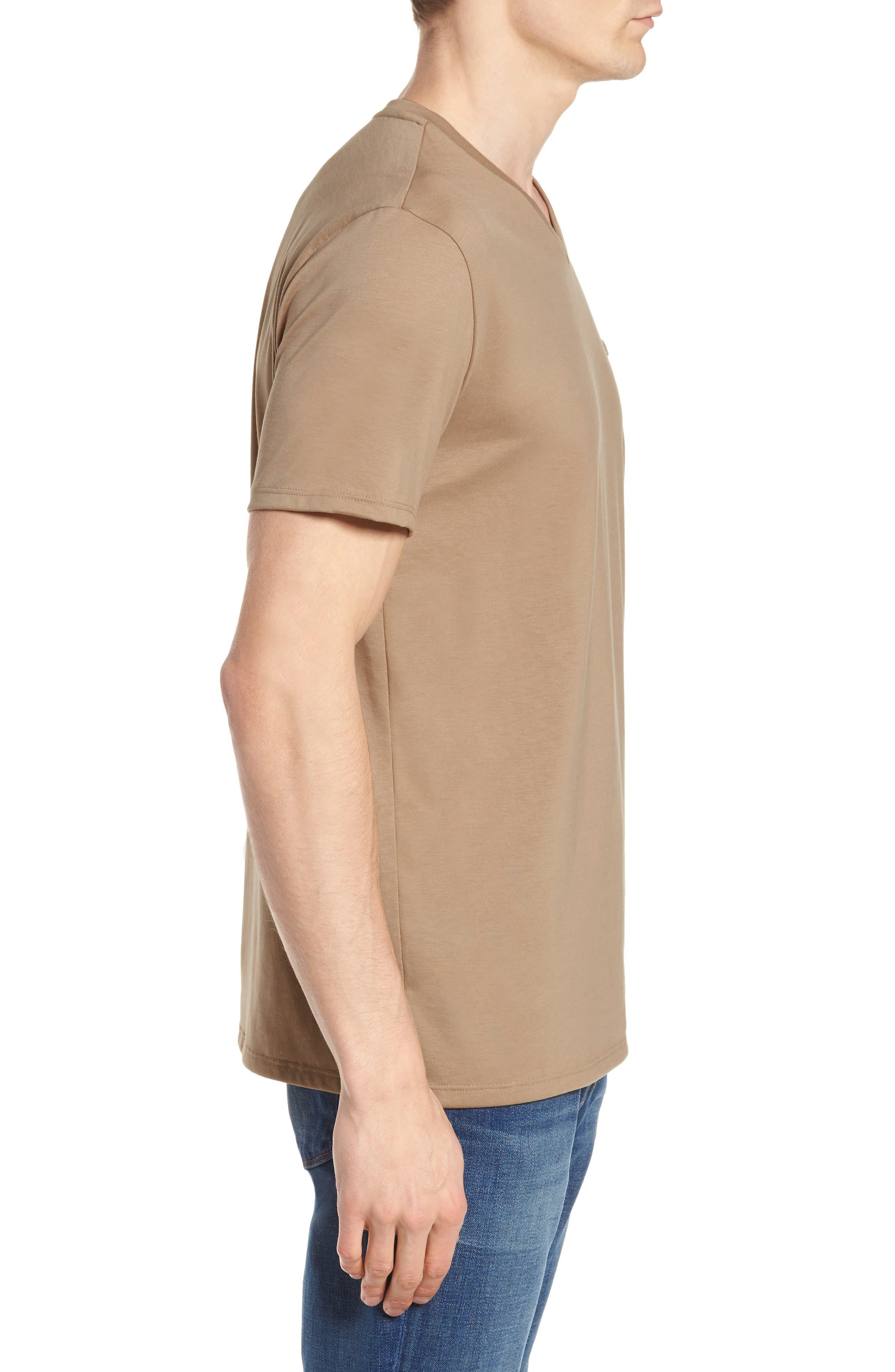 Pima Cotton T-Shirt,                             Alternate thumbnail 3, color,                             KRAFT BEIGE