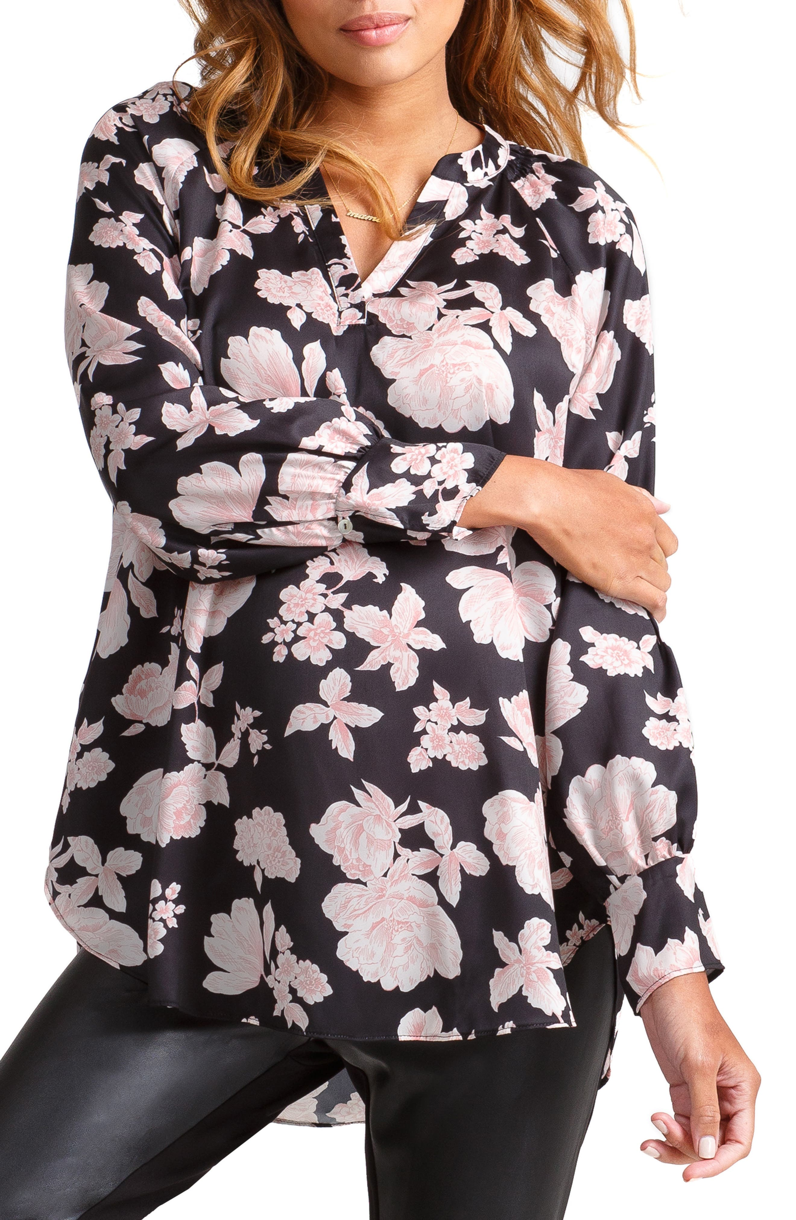 Split Neck Maternity Top, Main, color, BLACK VINTAGE FLORAL