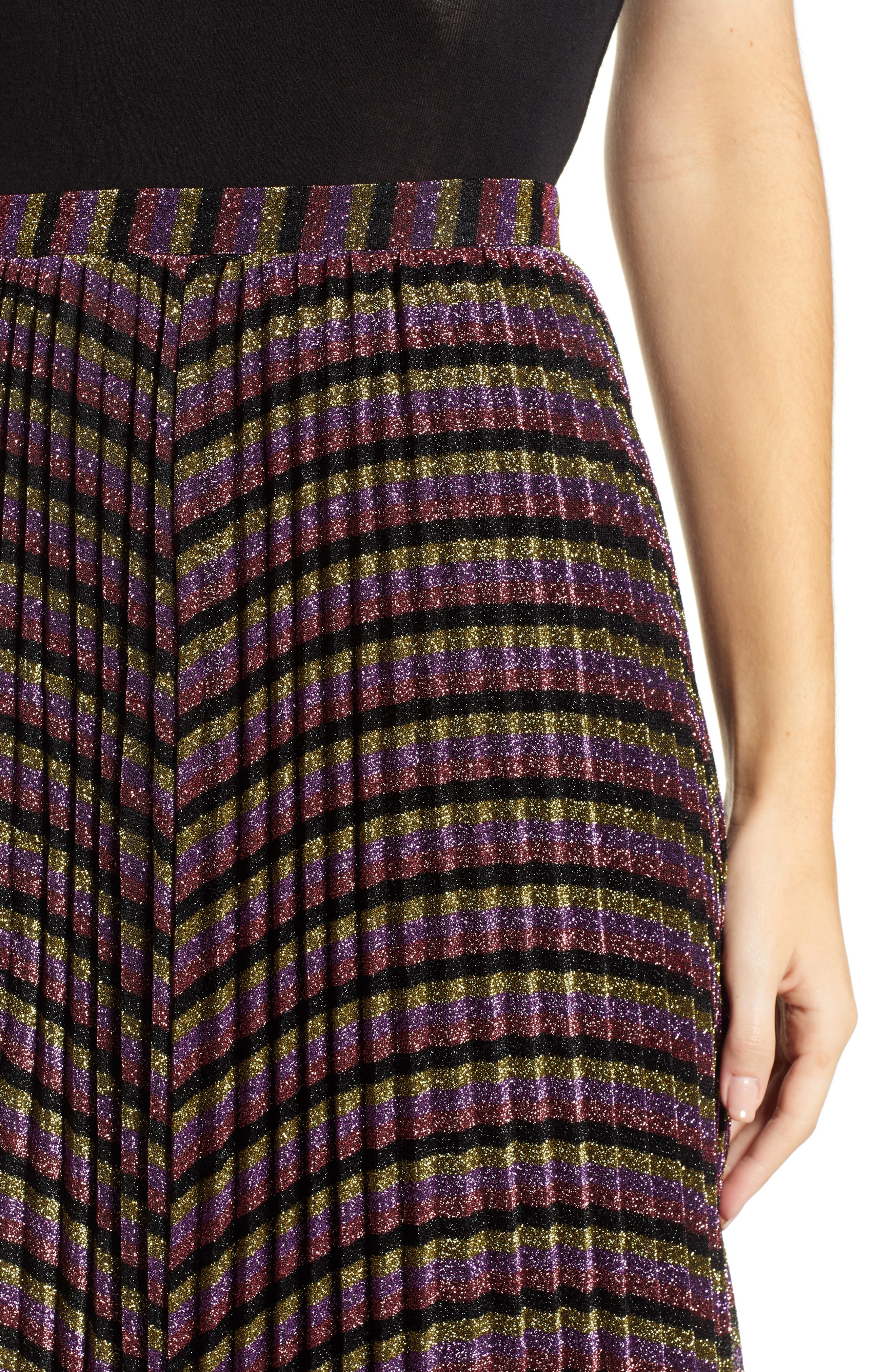 Sparkle Stripe Pleated Skirt,                             Alternate thumbnail 4, color,                             MULTICOLOUR
