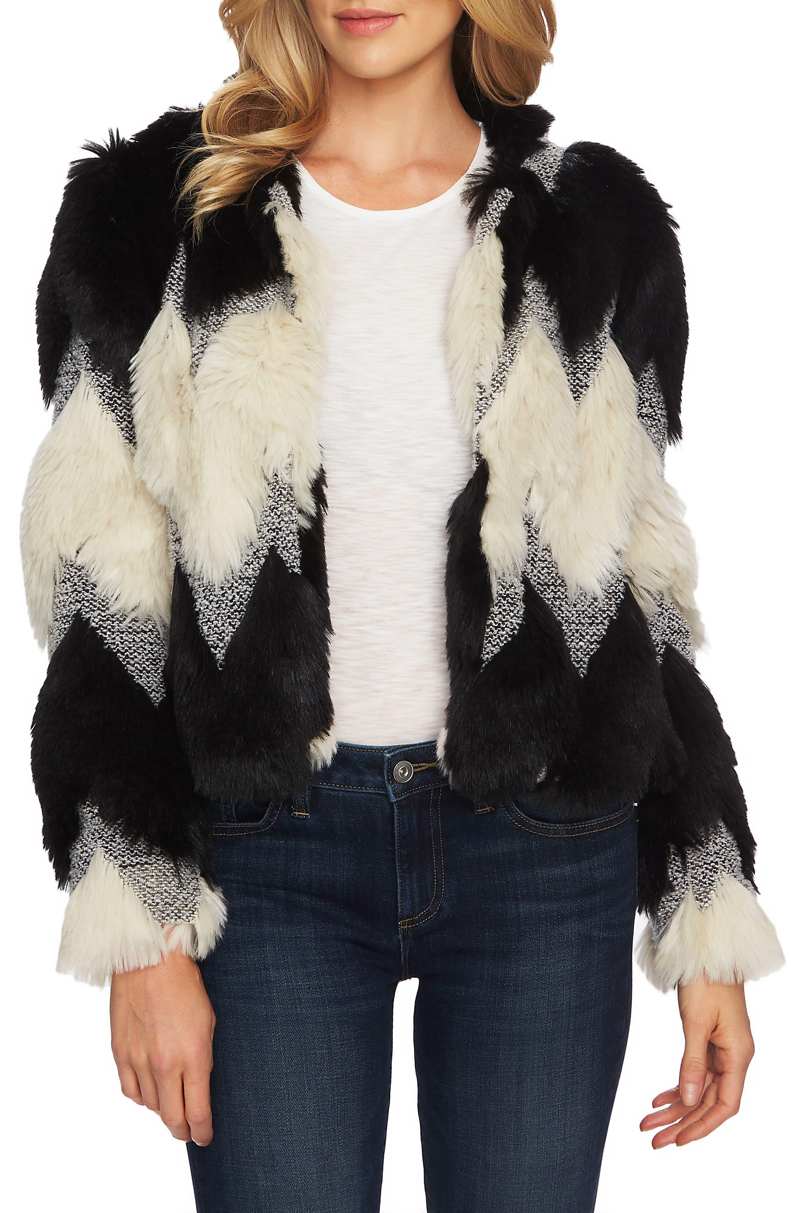 Chevron Faux Fur Jacket,                         Main,                         color, RICH BLACK