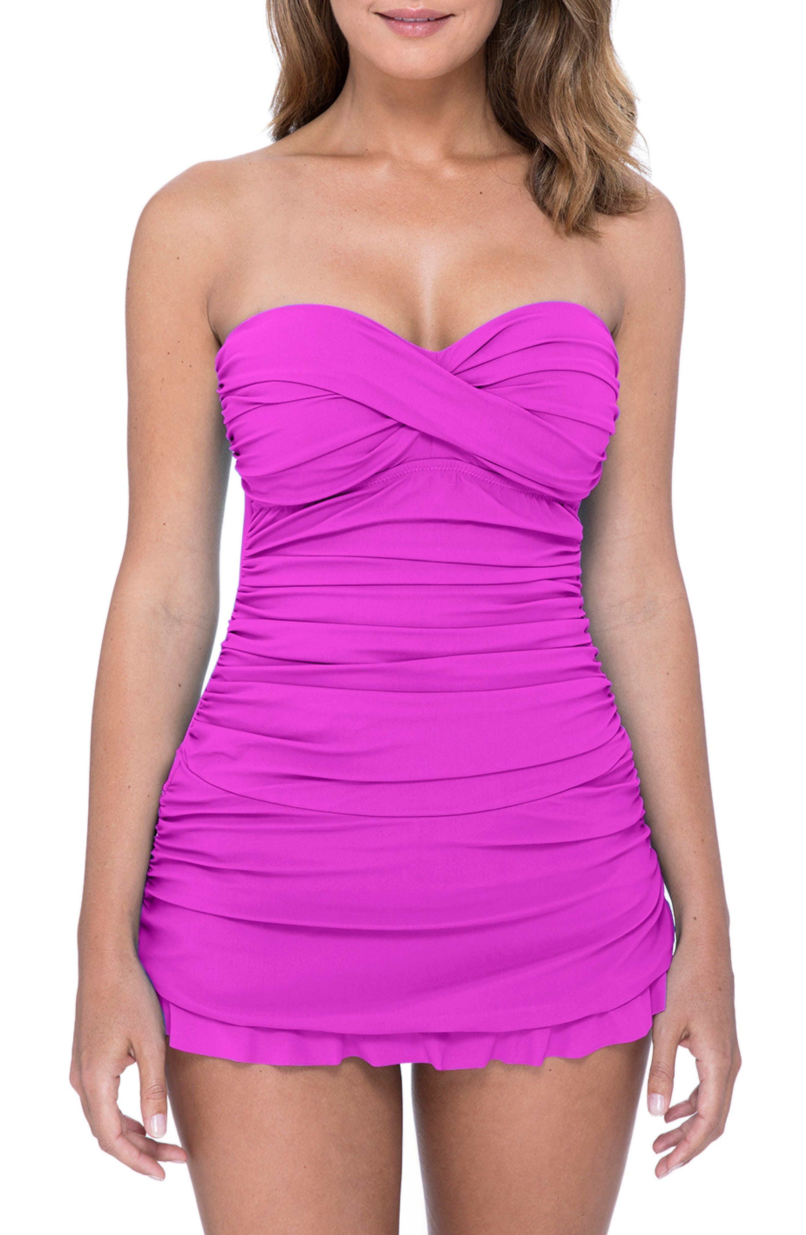 1950s Swimsuits, 50s Bathing Suits, Retro Swimwear Womens Profile By Gottex Tutti Frutti Swim Dress Size 14 - Purple $128.00 AT vintagedancer.com