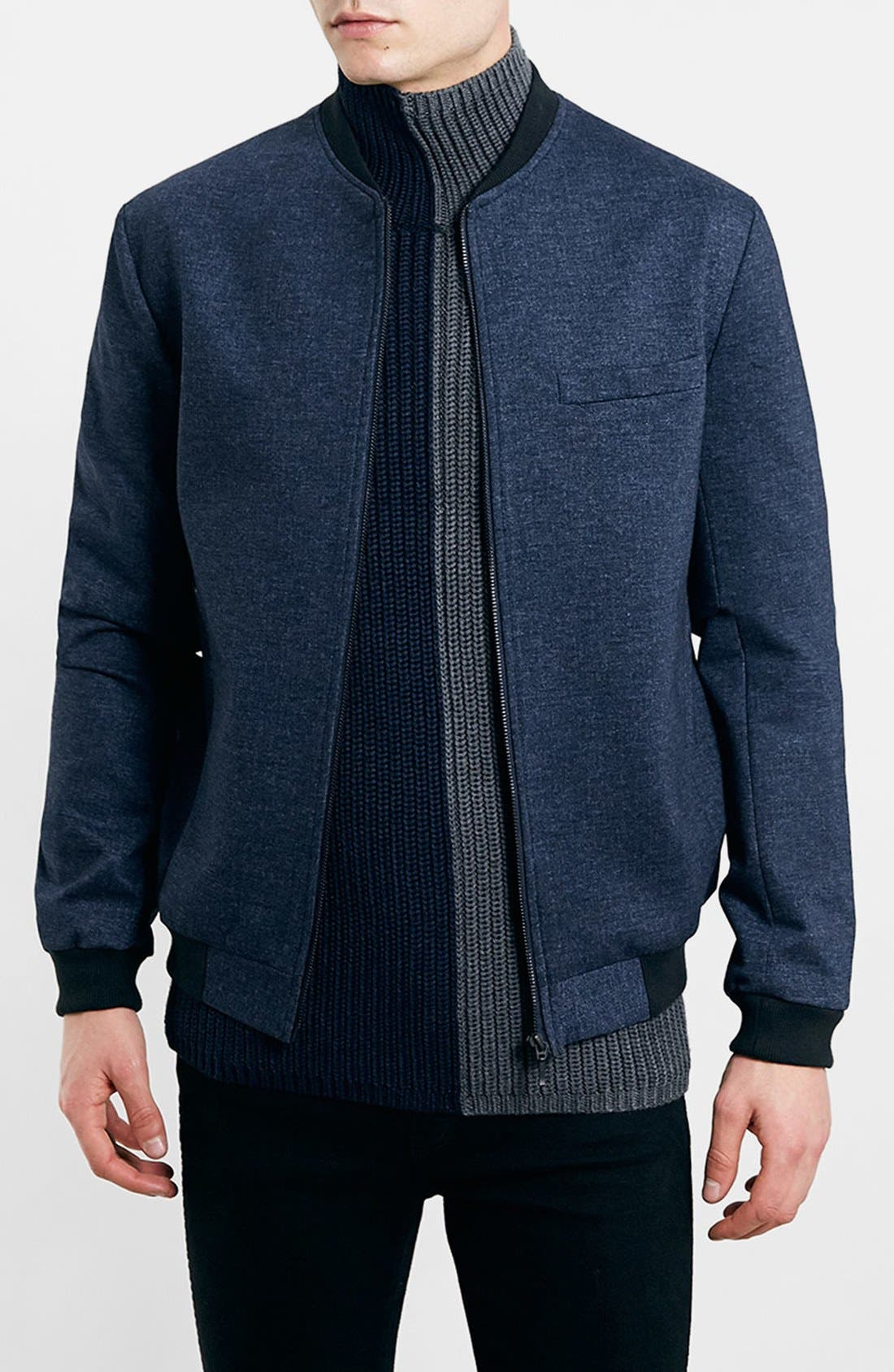TOPMAN Tailored Jersey Bomber Jacket, Main, color, 410