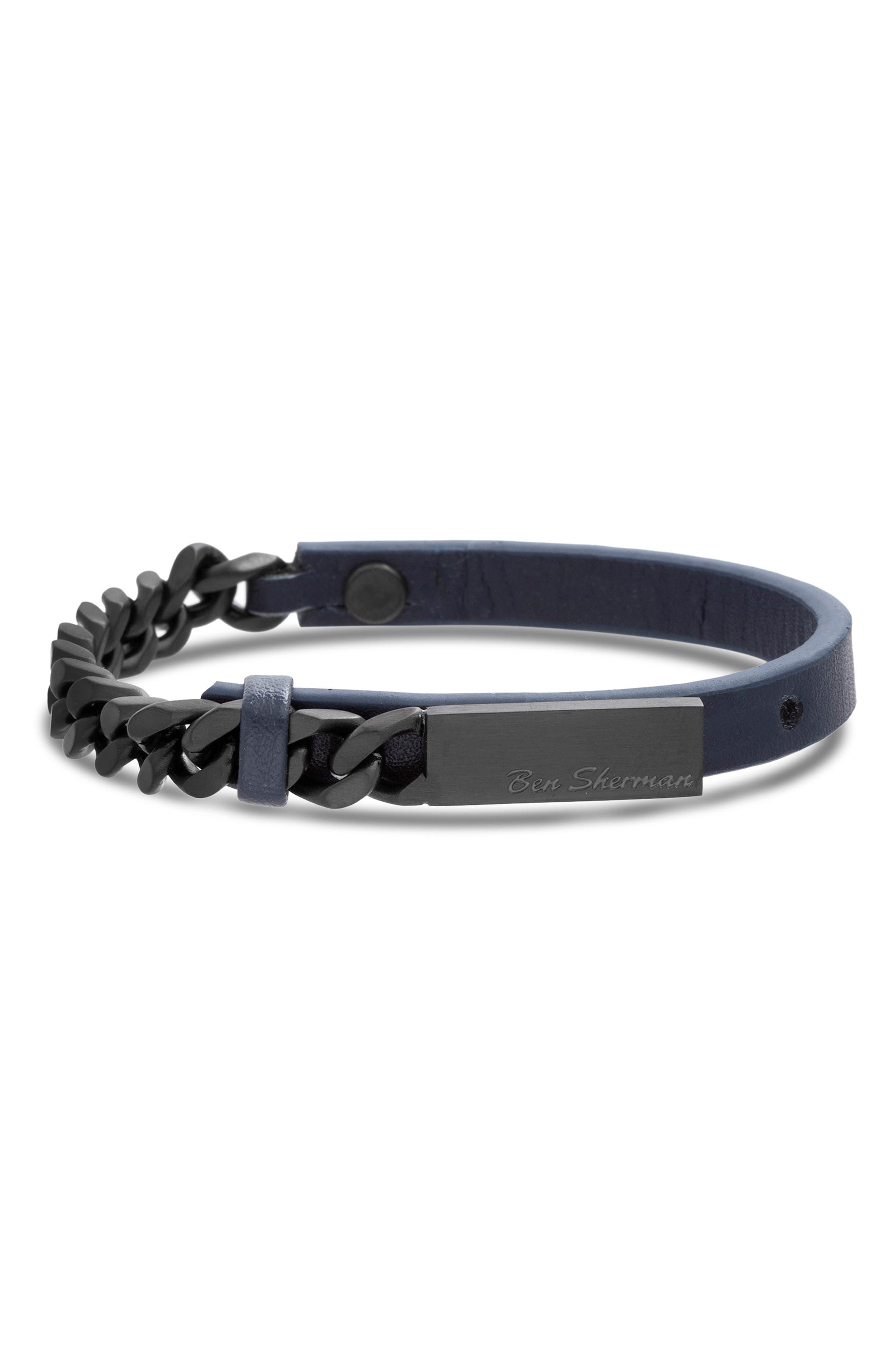 BEN SHERMAN Leather & Chain Bracelet in Navy Blue