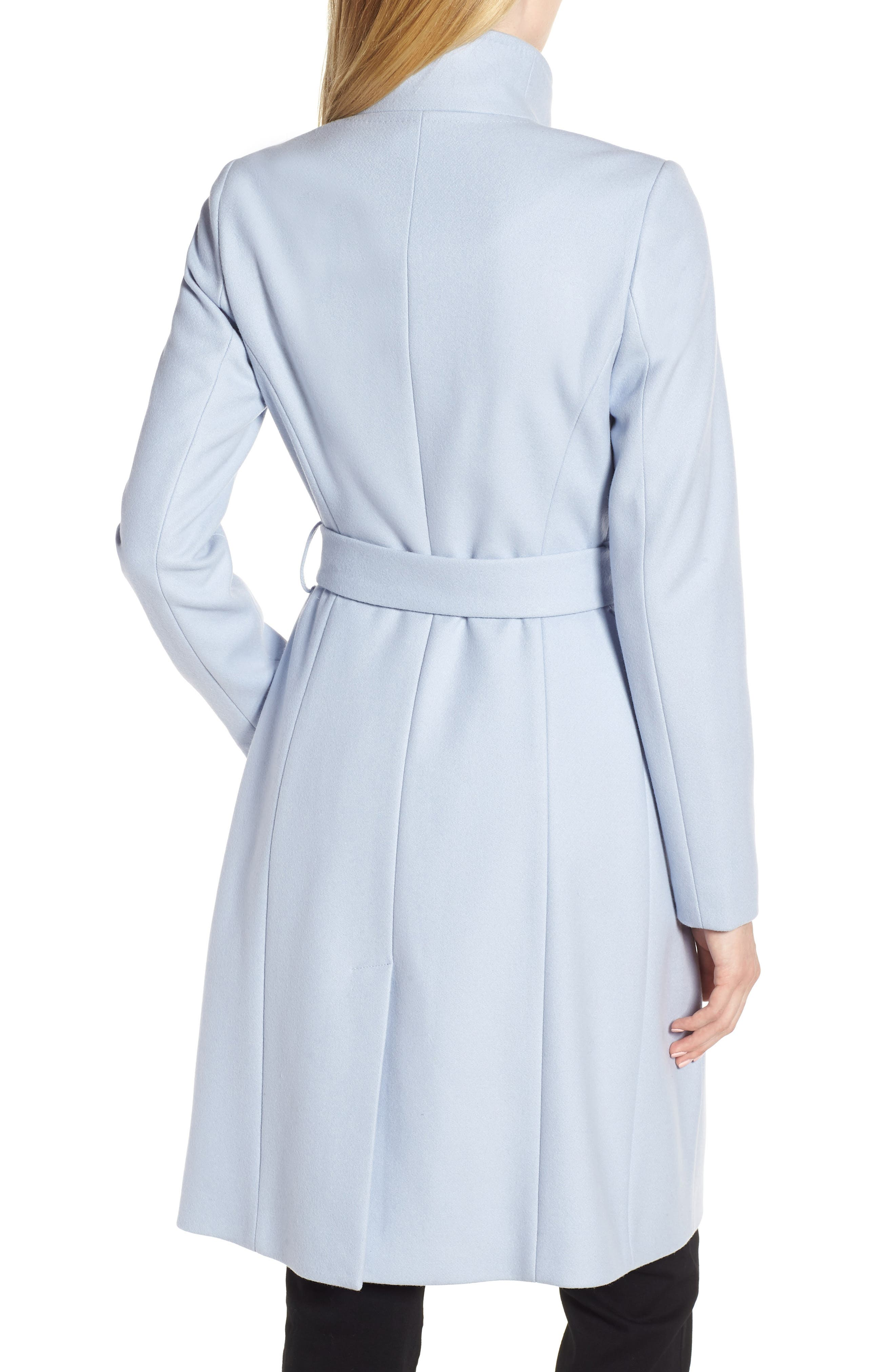 Wool Blend Long Wrap Coat,                             Alternate thumbnail 2, color,                             POWDER BLUE