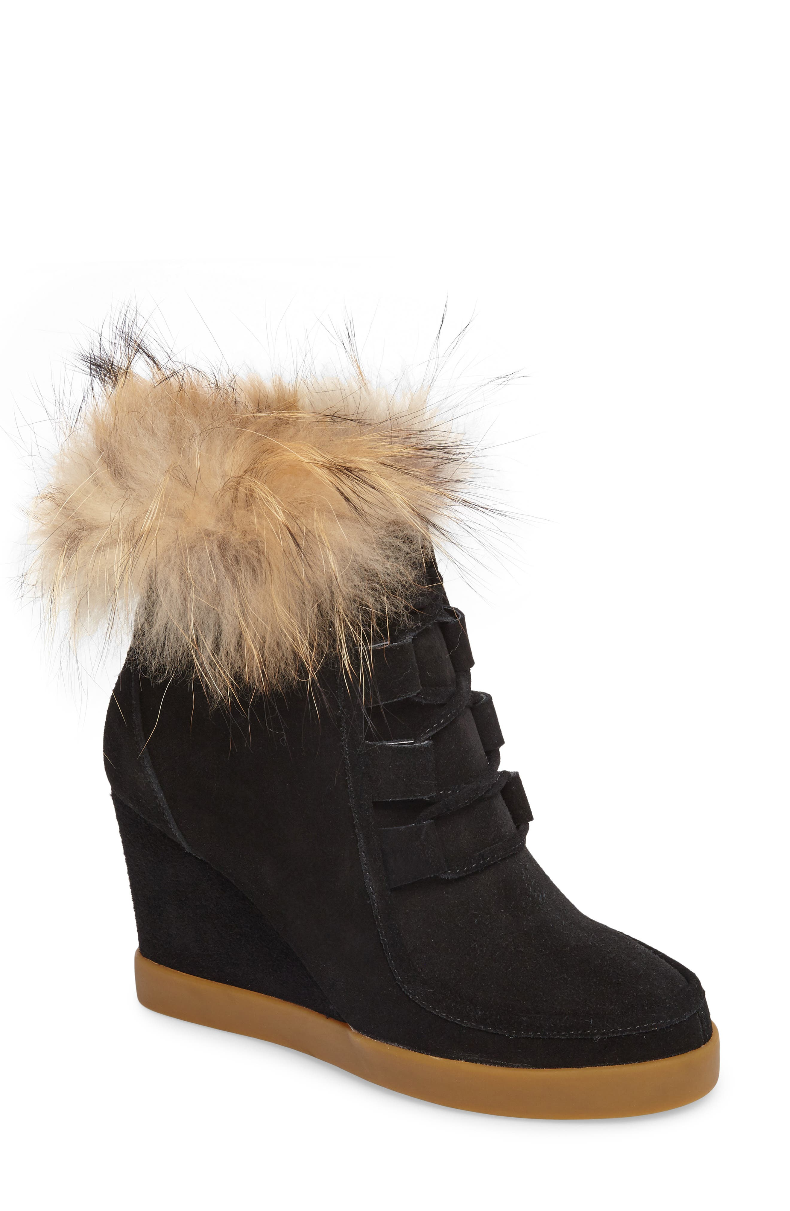 Holly Wedge Bootie with Genuine Fox Fur Trim,                             Main thumbnail 1, color,                             BLACK SUEDE