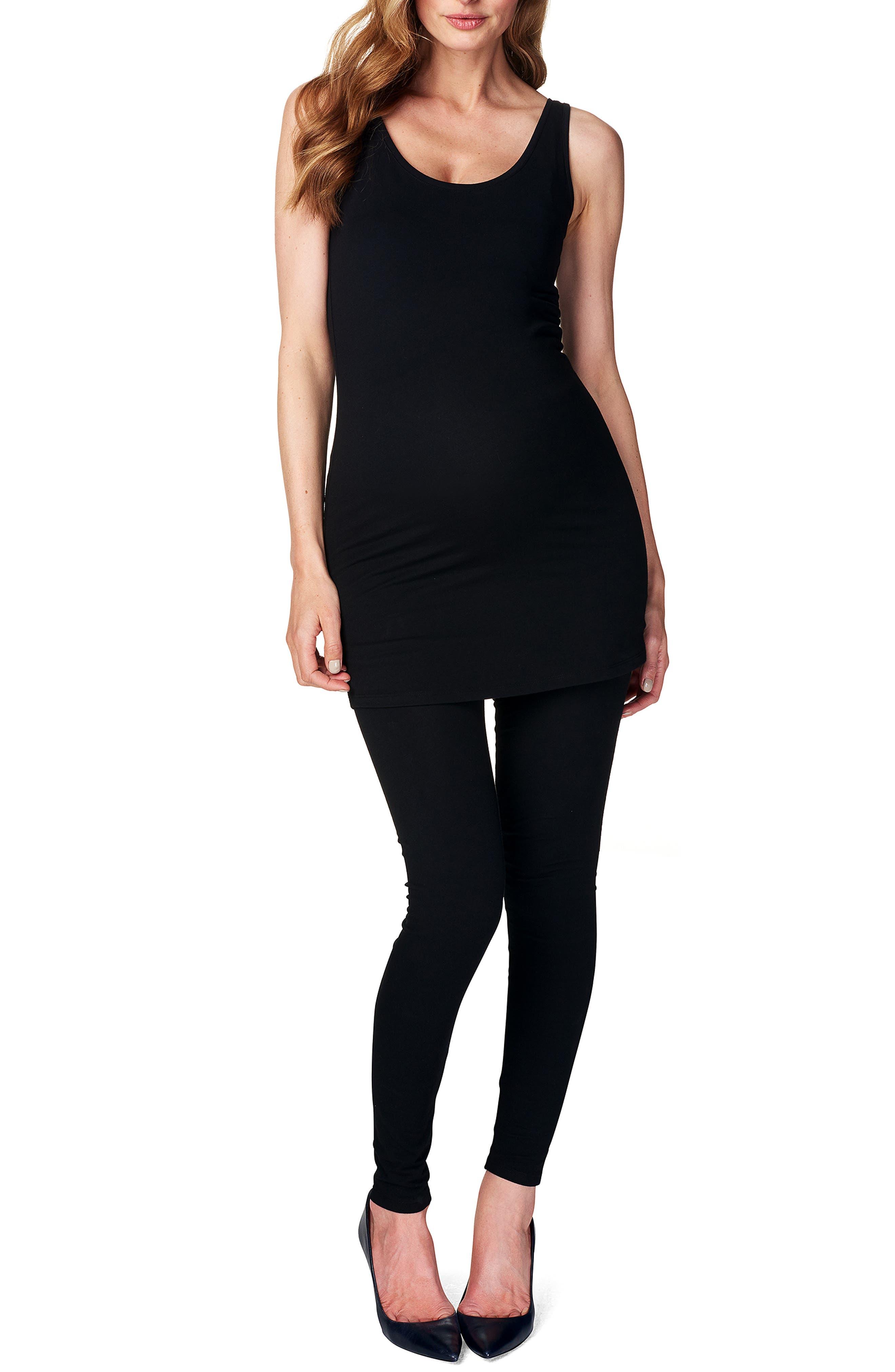 'Amsterdam' Scoop Neck Long Maternity Top,                             Alternate thumbnail 3, color,                             BLACK
