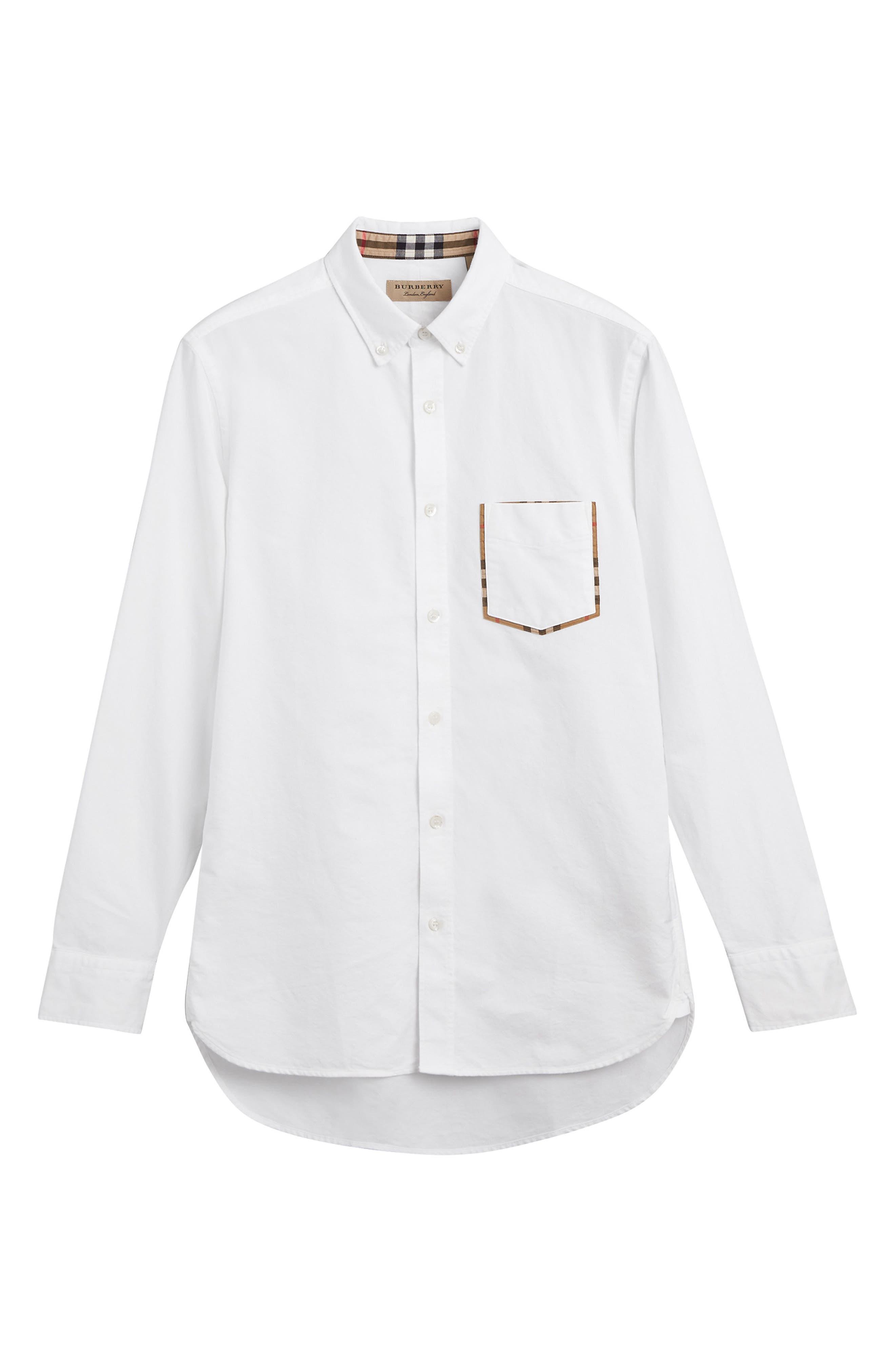BURBERRY,                             Harry Check Trim Sport Shirt,                             Alternate thumbnail 5, color,                             WHITE