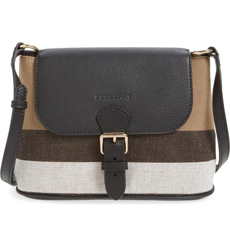 2db084043ded Burberry  Gowan  Canvas Check Print   Leather Crossbody Bag