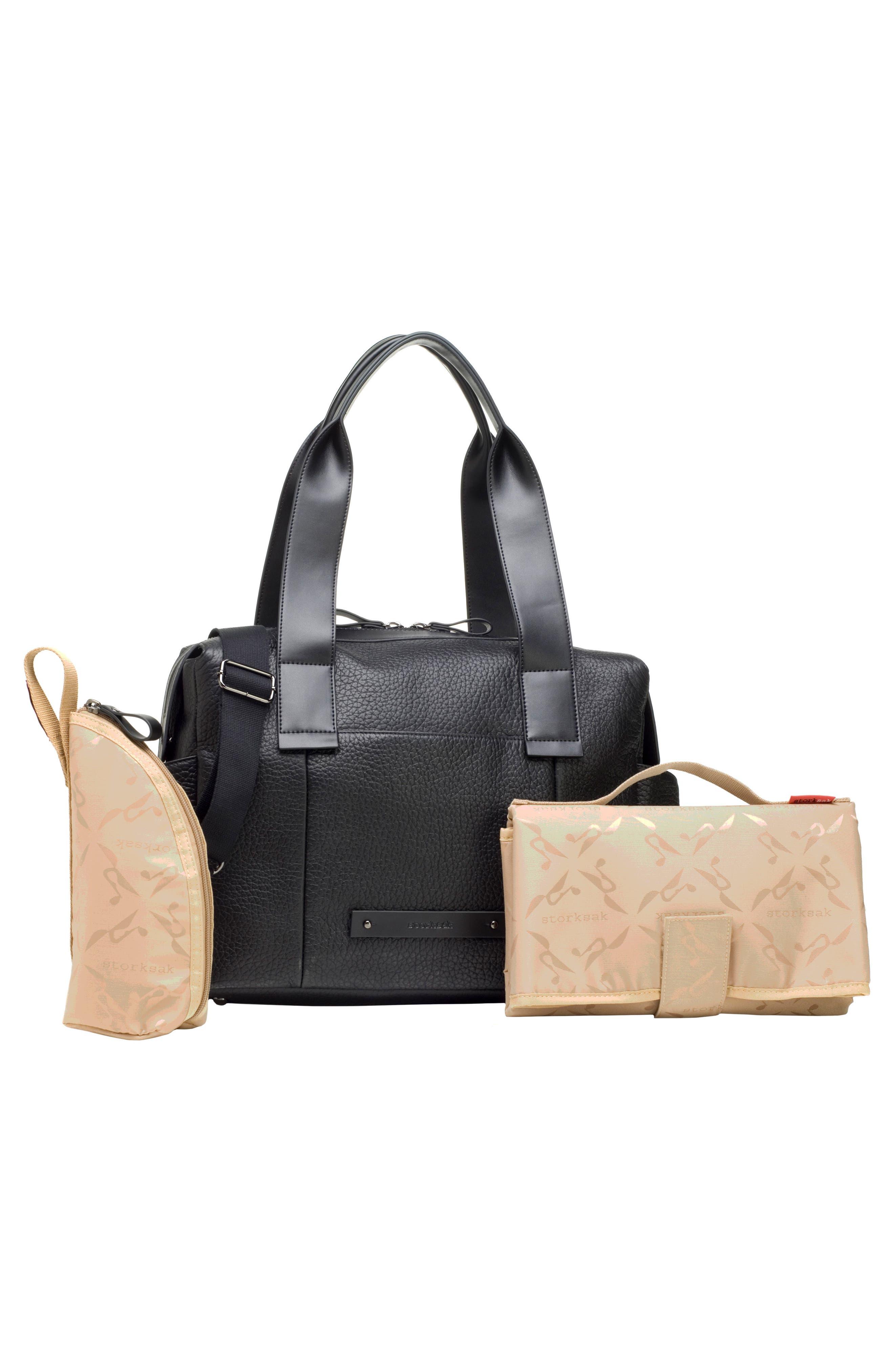 Kym Calfskin Leather Diaper Tote Bag,                             Alternate thumbnail 2, color,                             BLACK