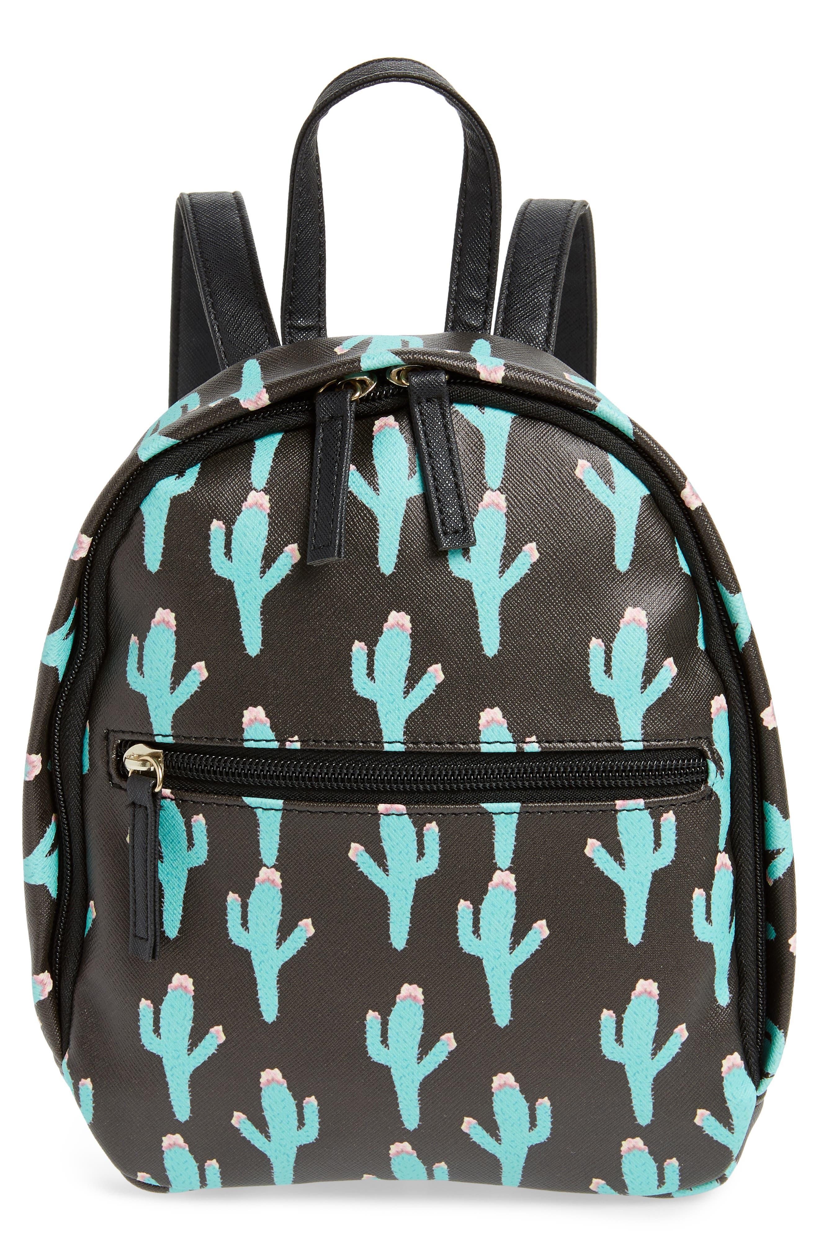 Cactus Print Mini Backpack,                         Main,                         color, BLACK