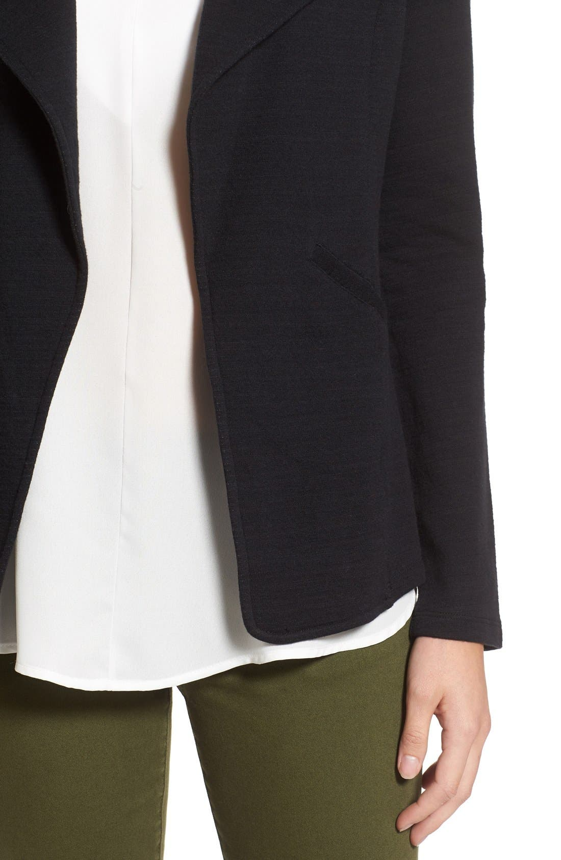 Cotton Knit Open Front Blazer,                             Alternate thumbnail 3, color,                             001