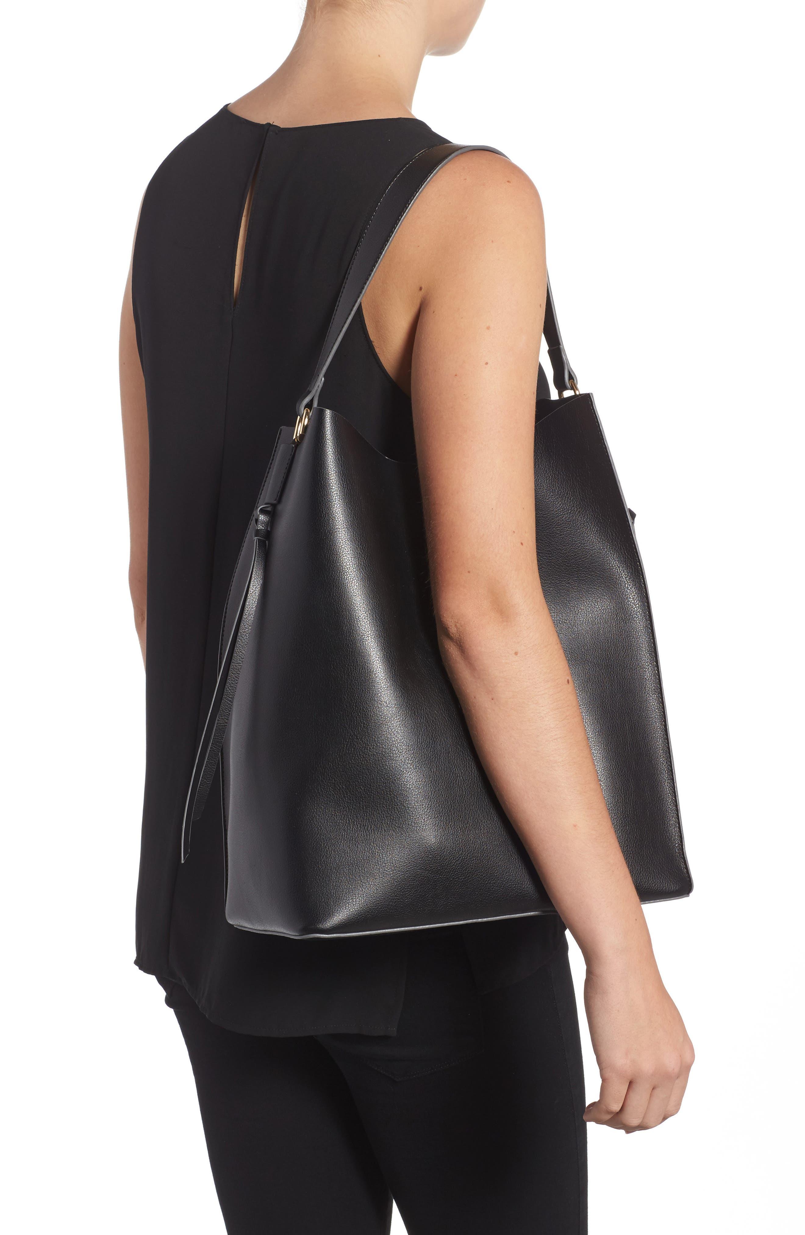 Prima Faux Leather Bucket Bag & Zip Pouch,                             Alternate thumbnail 2, color,                             001