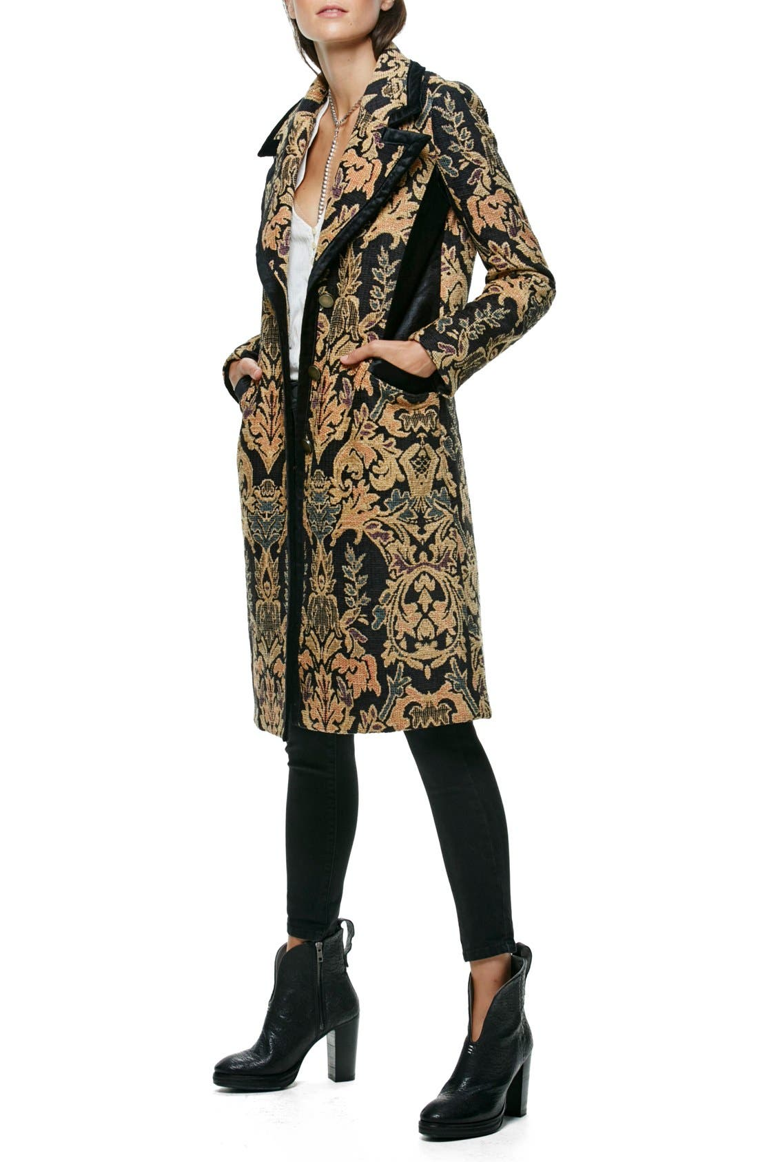 FREE PEOPLE Jacquard Coat, Main, color, 001