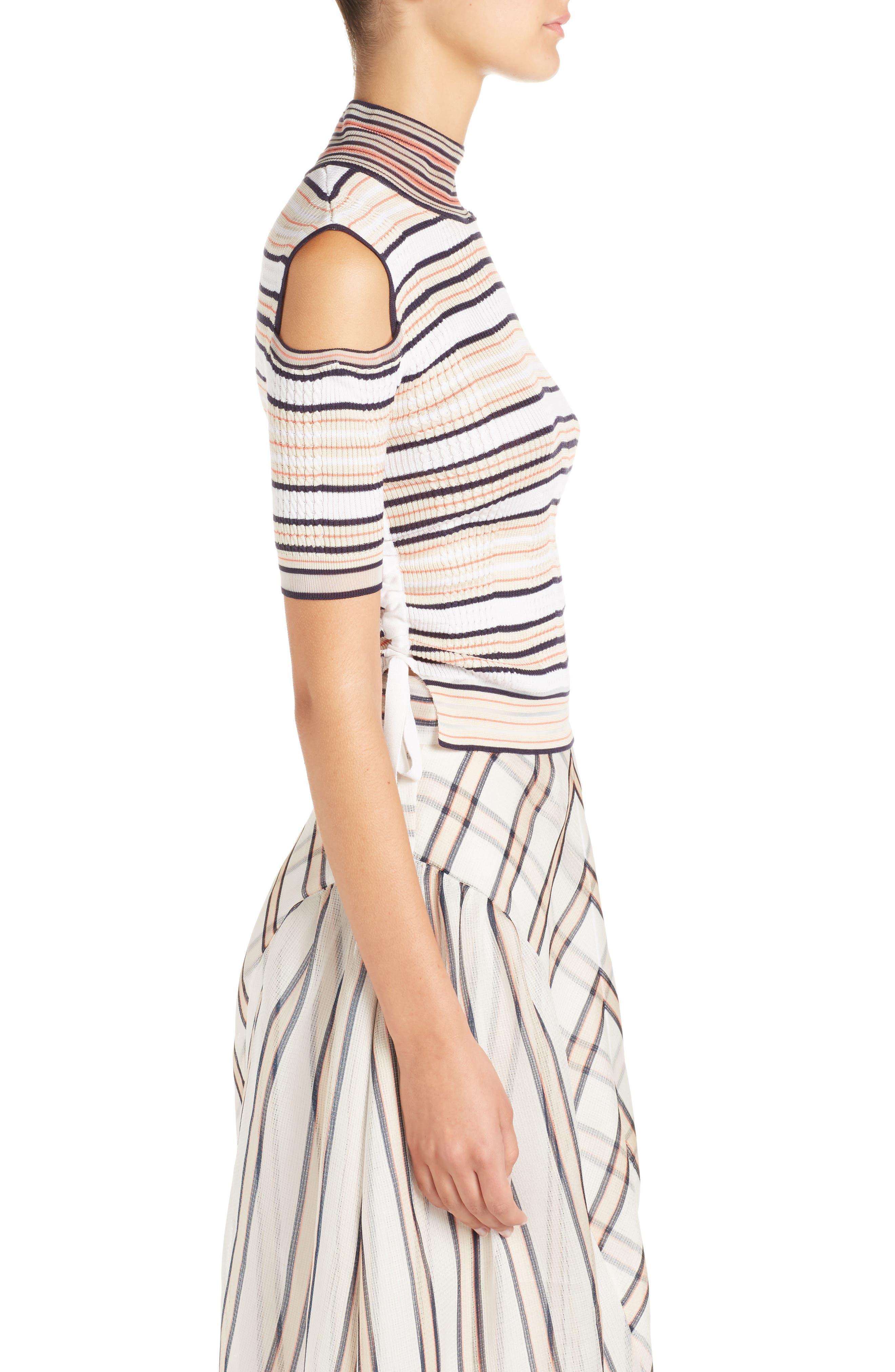Cold Shoulder Stripe Silk Blend Sweater,                             Alternate thumbnail 3, color,                             148