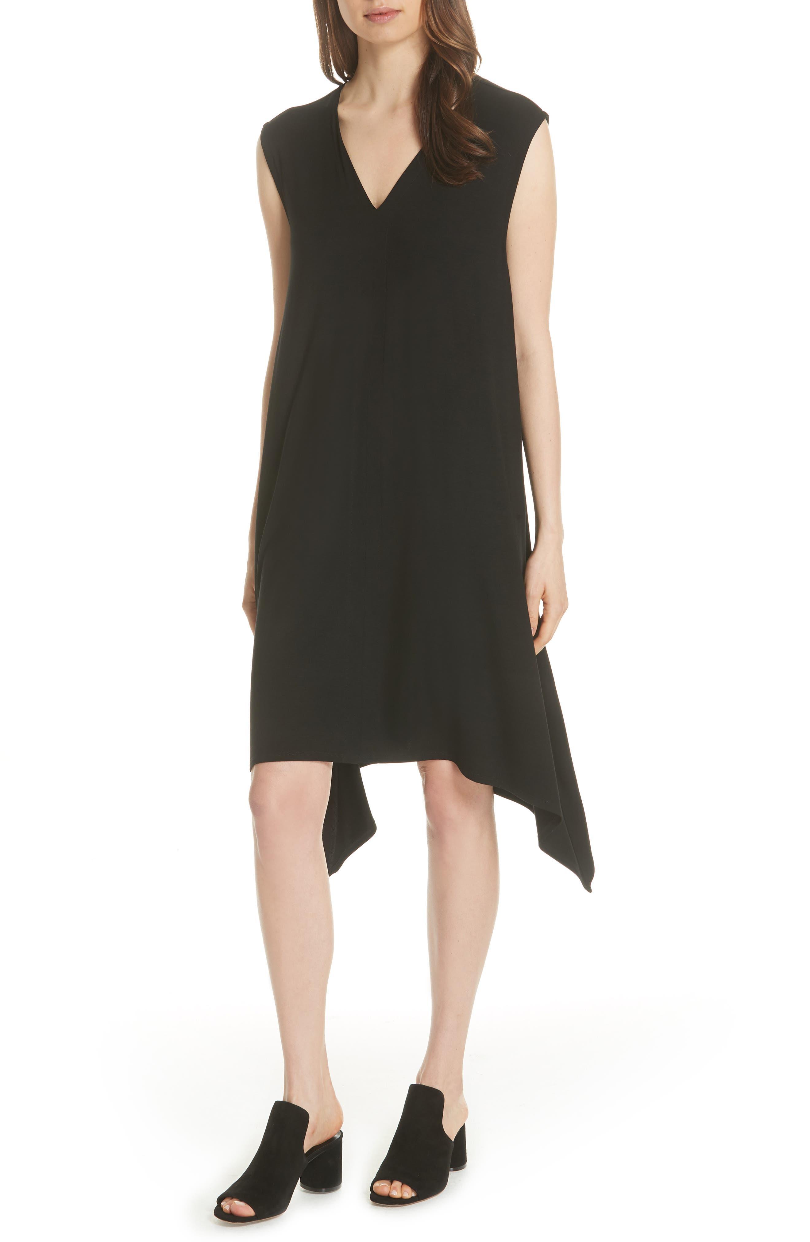 Cutout Jersey Shift Dress,                         Main,                         color, BLACK