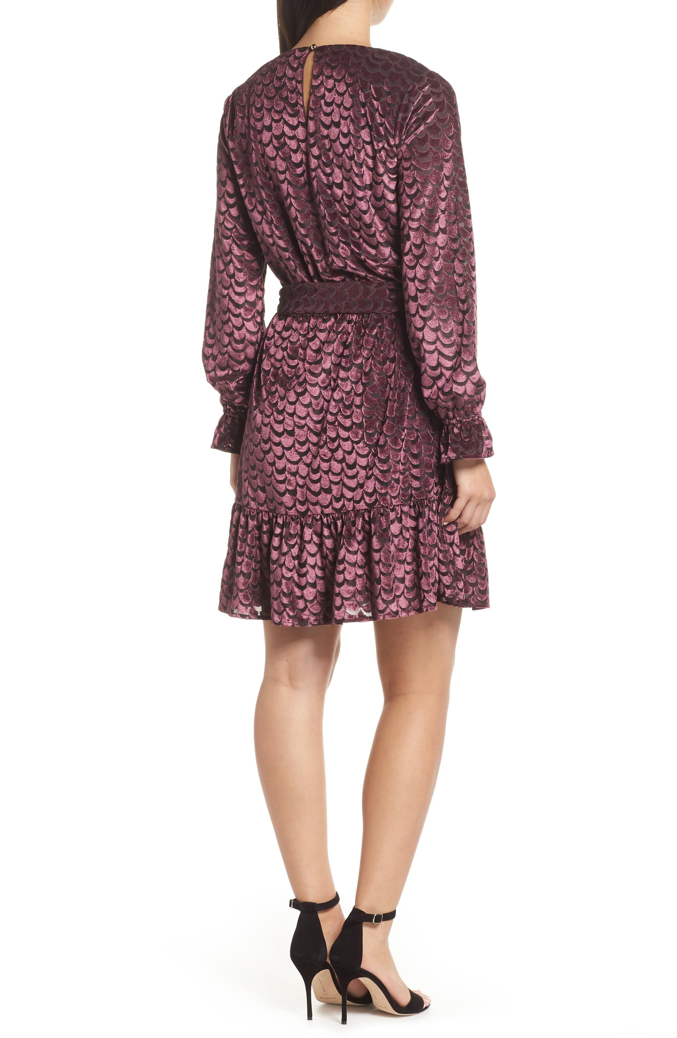 Velvet Tie Waist Dress,                             Alternate thumbnail 2, color,                             BLACK/ CORDOVAN