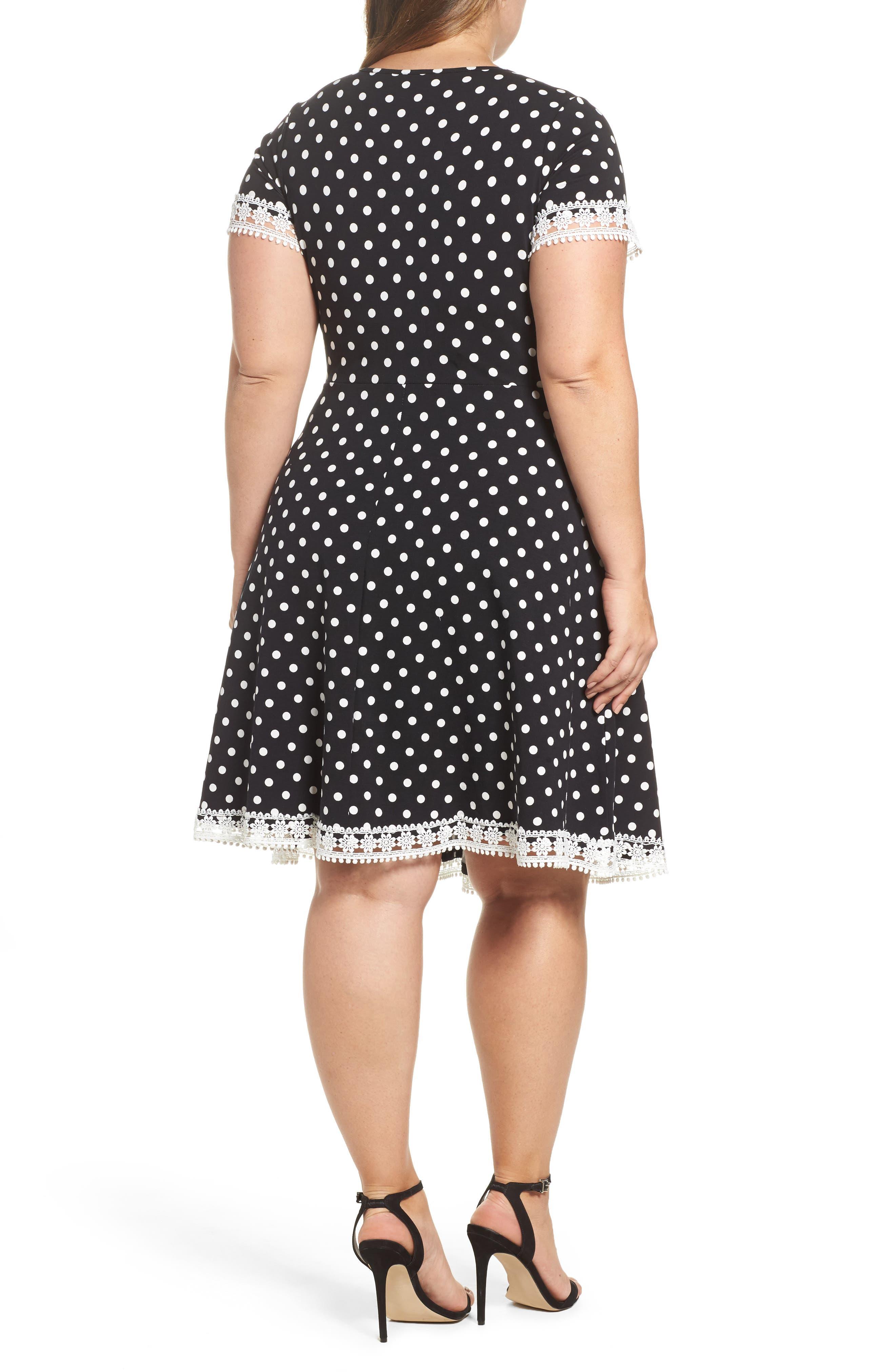 Polka Dot Fit & Flare Dress,                             Alternate thumbnail 2, color,                             001