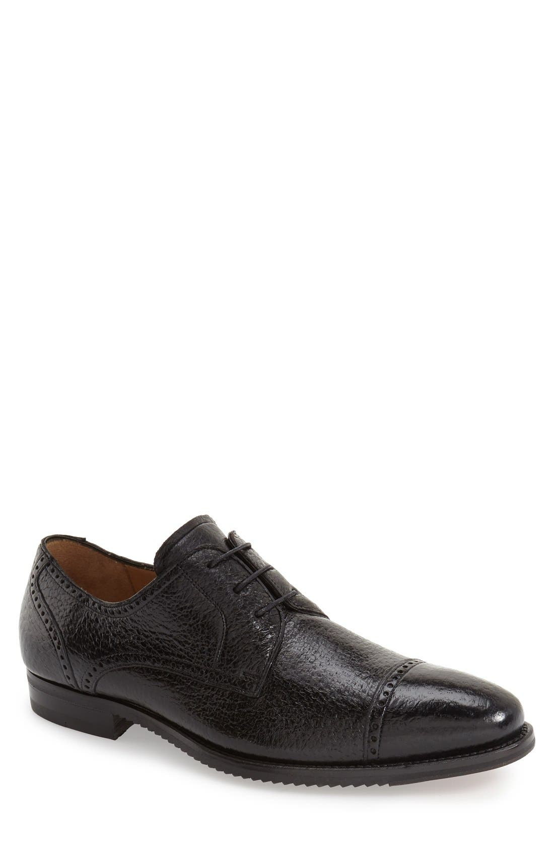 'Capri' Cap Toe Derby,                             Main thumbnail 1, color,                             BLACK