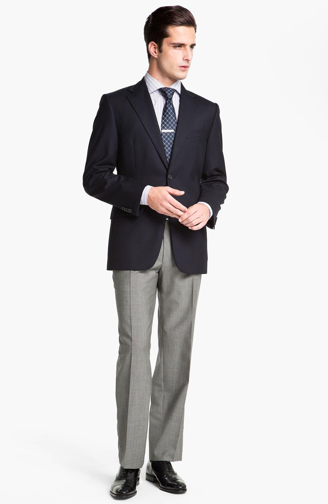 BOSS HUGO BOSS 'Jeffrey US' Flat Front Pinpoint Wool Trousers,                             Alternate thumbnail 4, color,                             022
