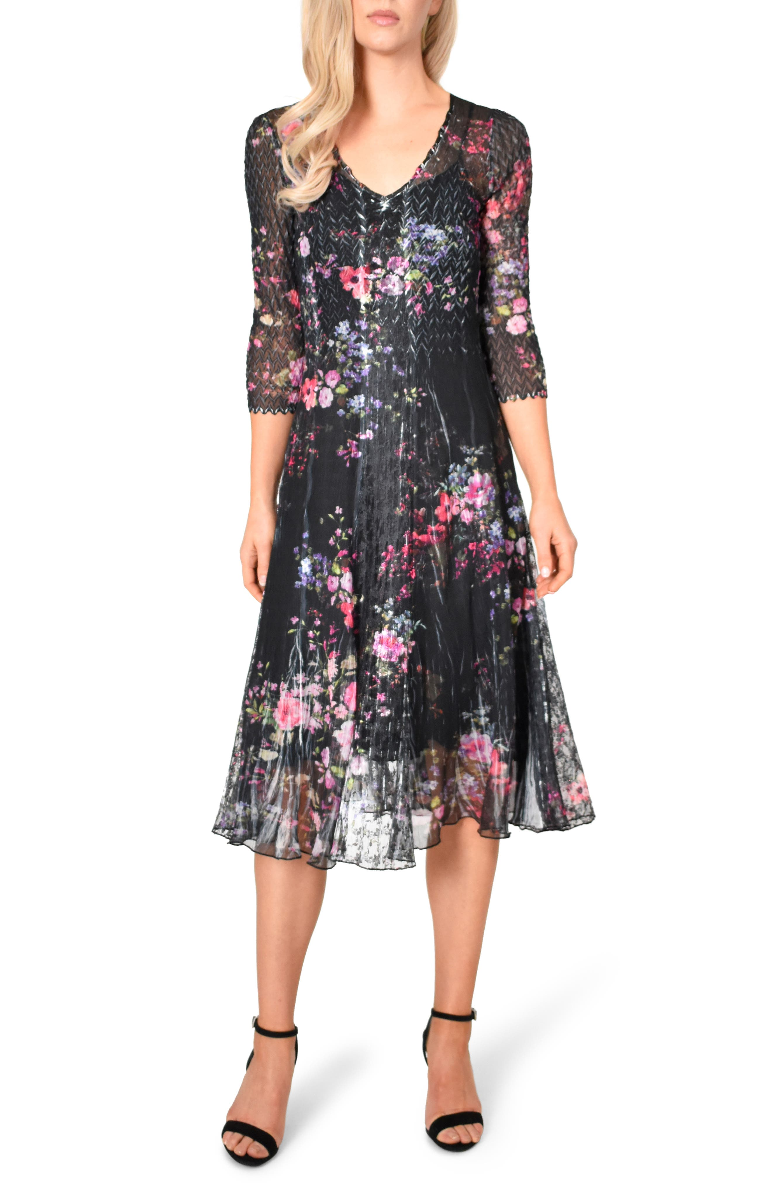 Komarov Charmeuse & Lace A-Line Dress, Black