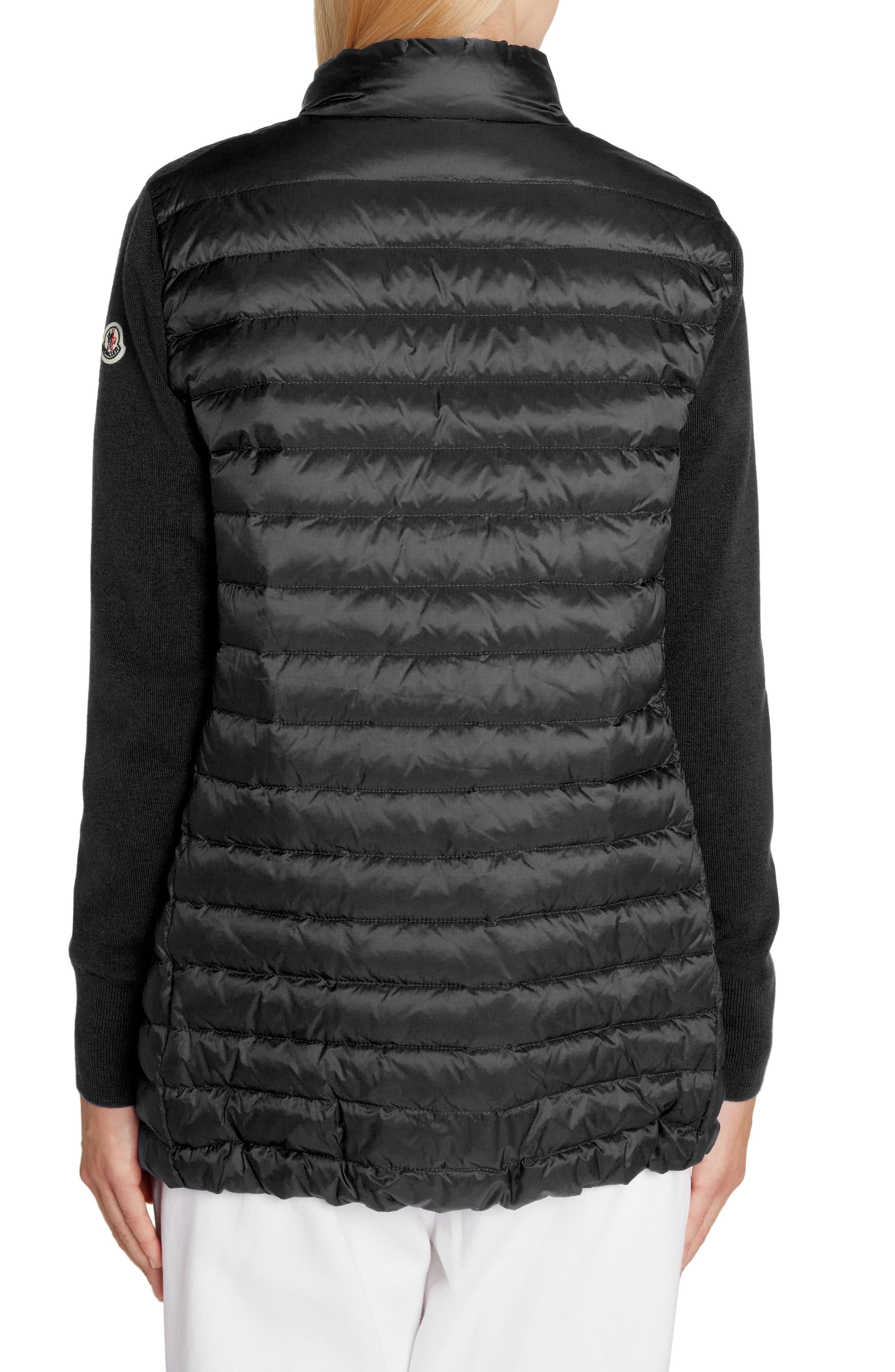Quilted Down & Knit Cardigan,                             Alternate thumbnail 2, color,                             BLACK