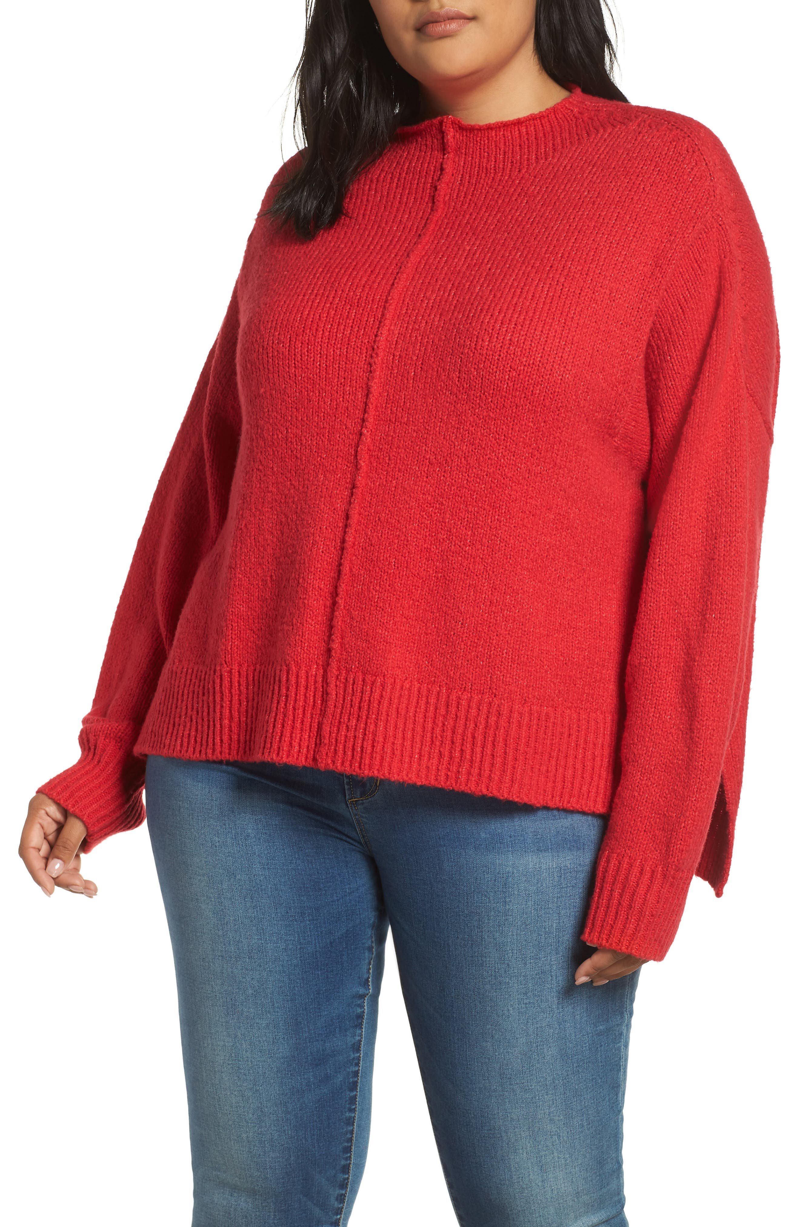 Side Slit Sweater,                             Main thumbnail 1, color,                             RED LIPSTICK
