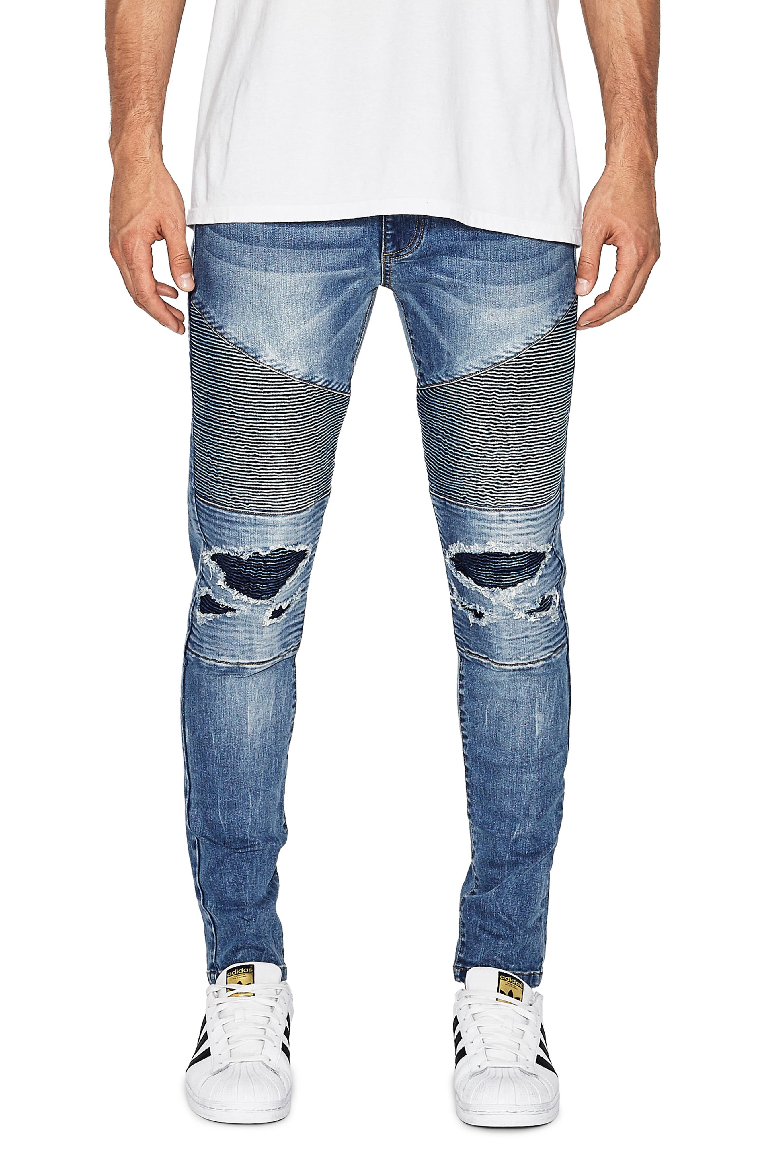 NXP Combination Moto Skinny Moto Jeans, Main, color, MILWAUKEE BLUE