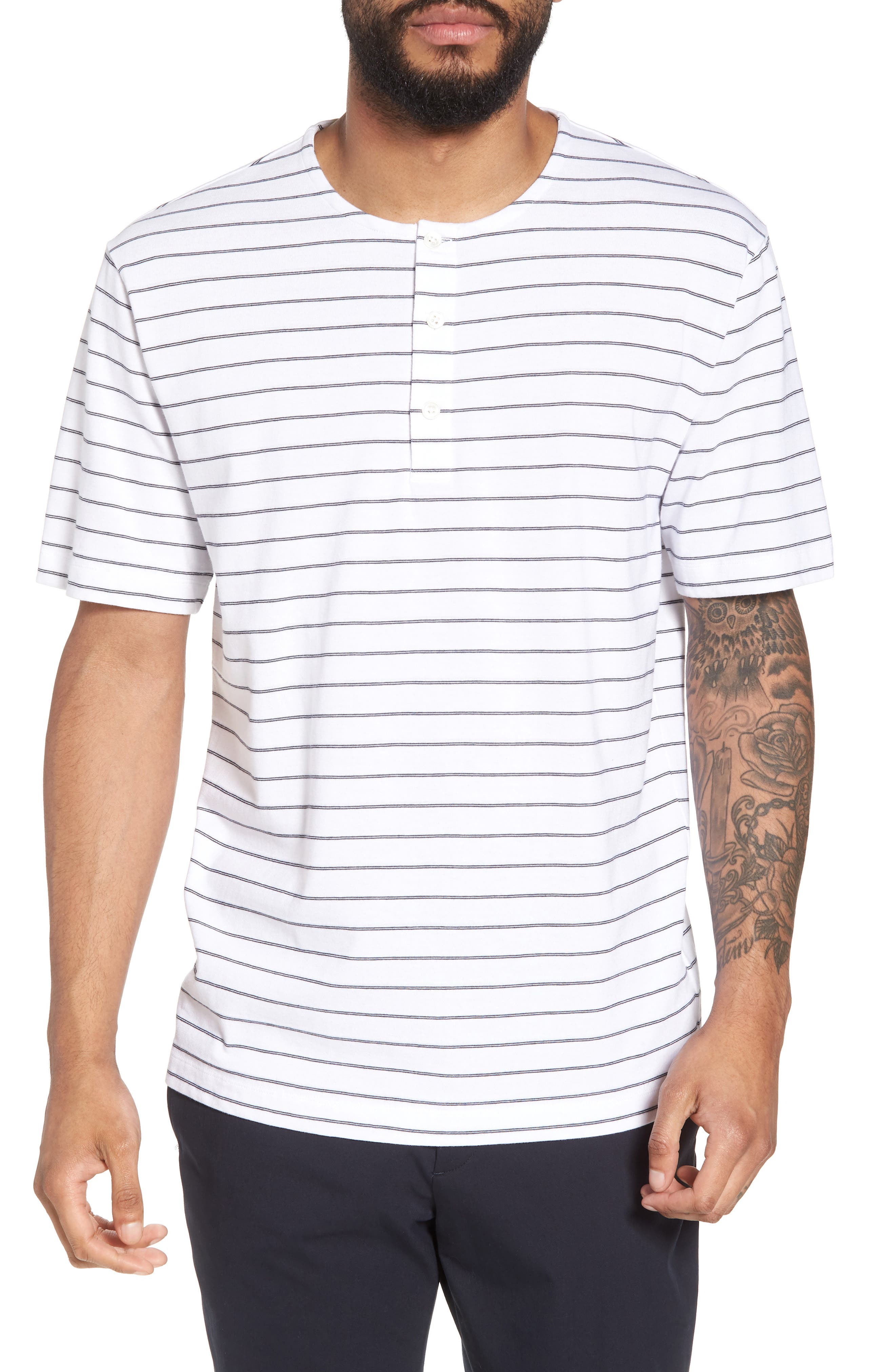 Relaxed Stripe Henley,                         Main,                         color, 100