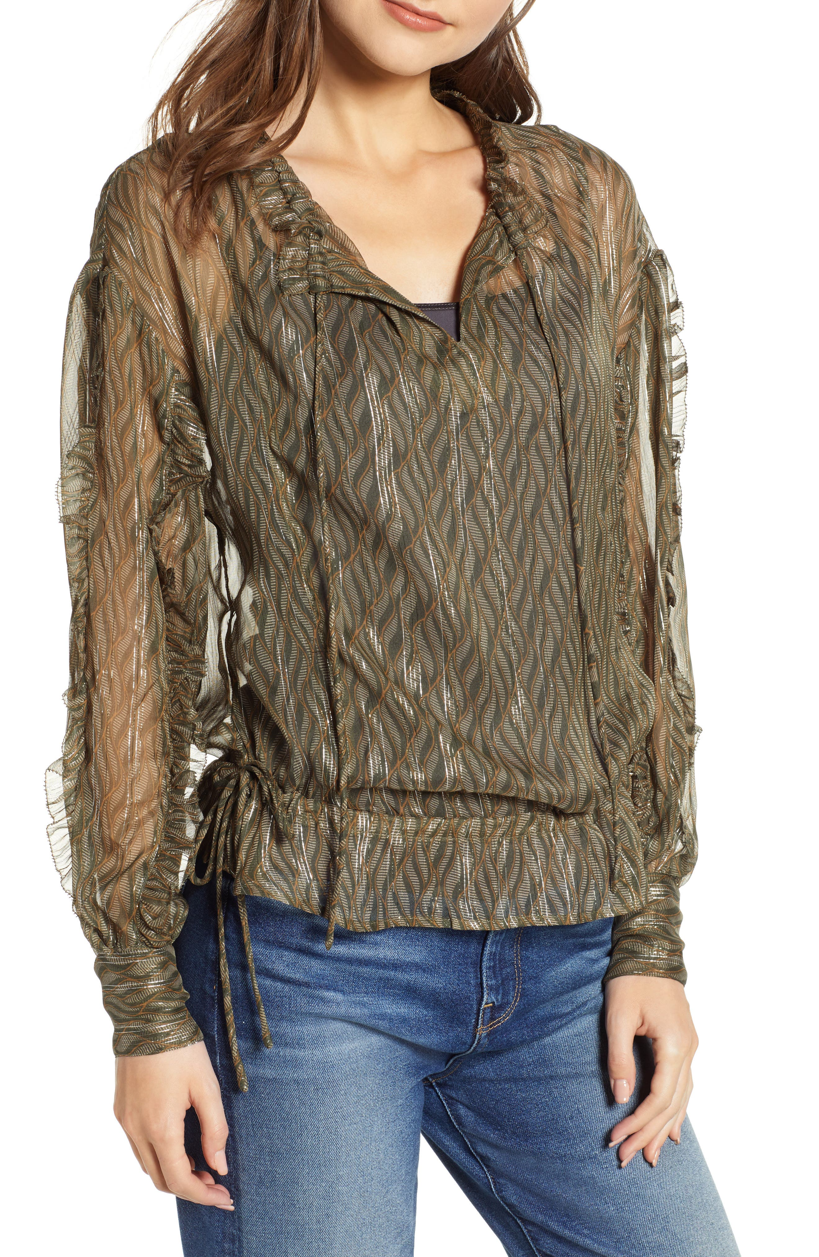 Metallic Detail Sheer Ruffle Blouse,                         Main,                         color, SAGE GREEN PRINT W/