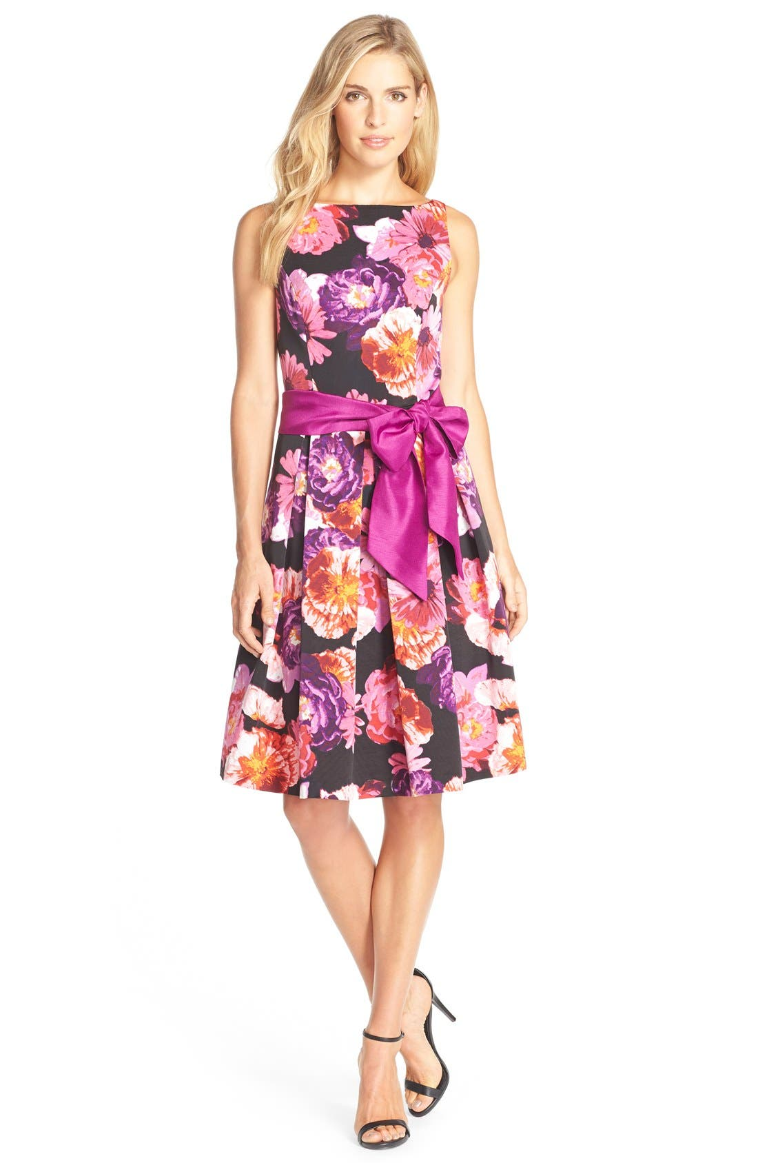 ELIZA J,                             Floral Print Faille Fit& Flare Dress,                             Alternate thumbnail 4, color,                             660