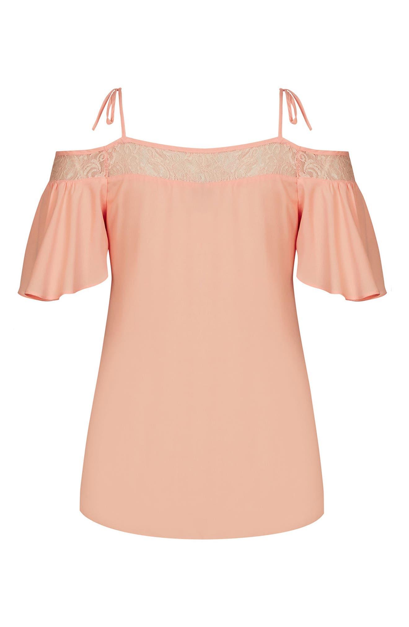 Lace Trim Off-Shoulder Top,                             Alternate thumbnail 3, color,                             MANGO