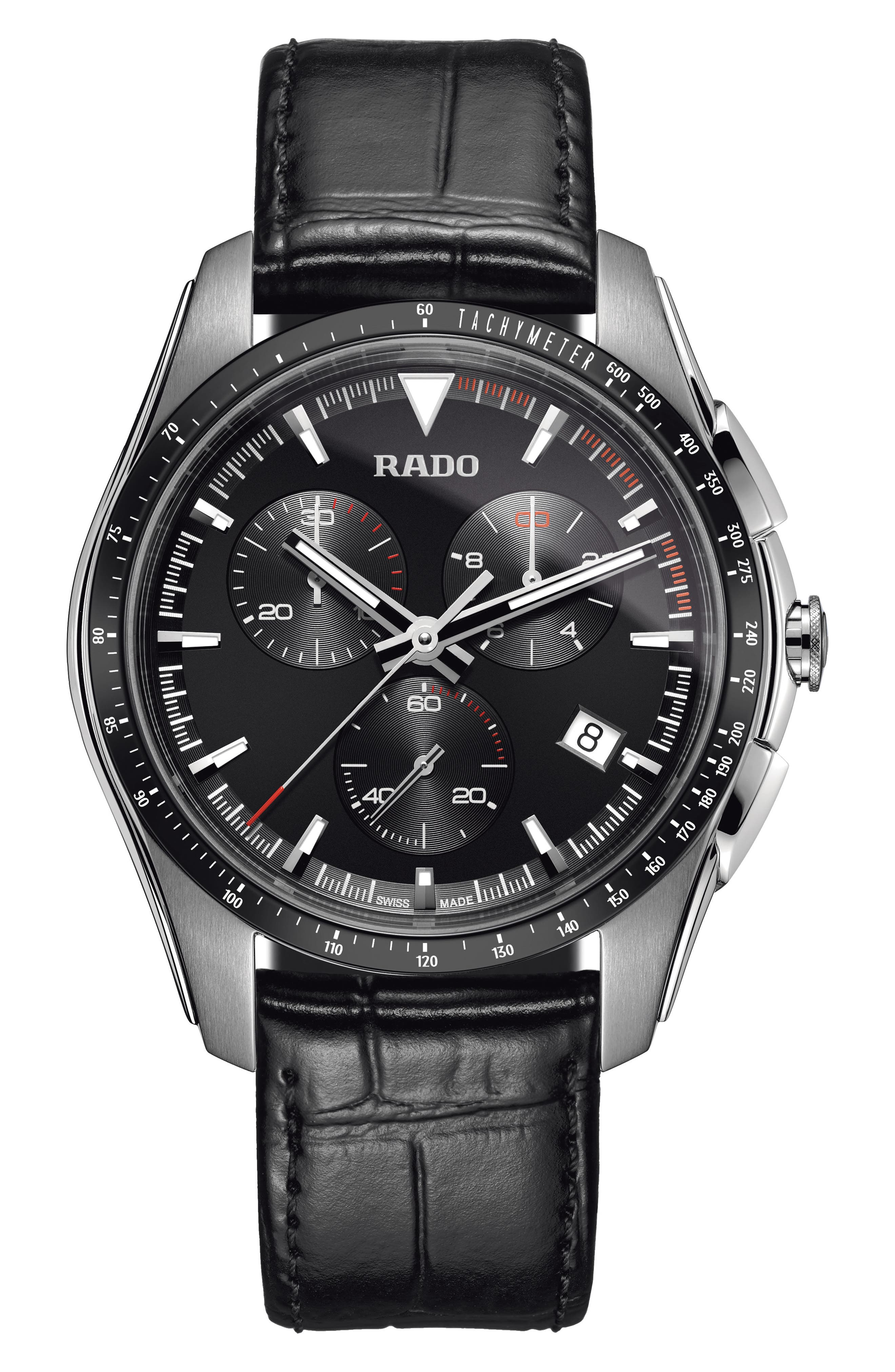 HyperChrome Chronograph Leather Strap Watch, 45mm,                             Main thumbnail 1, color,                             BLACK/ SILVER