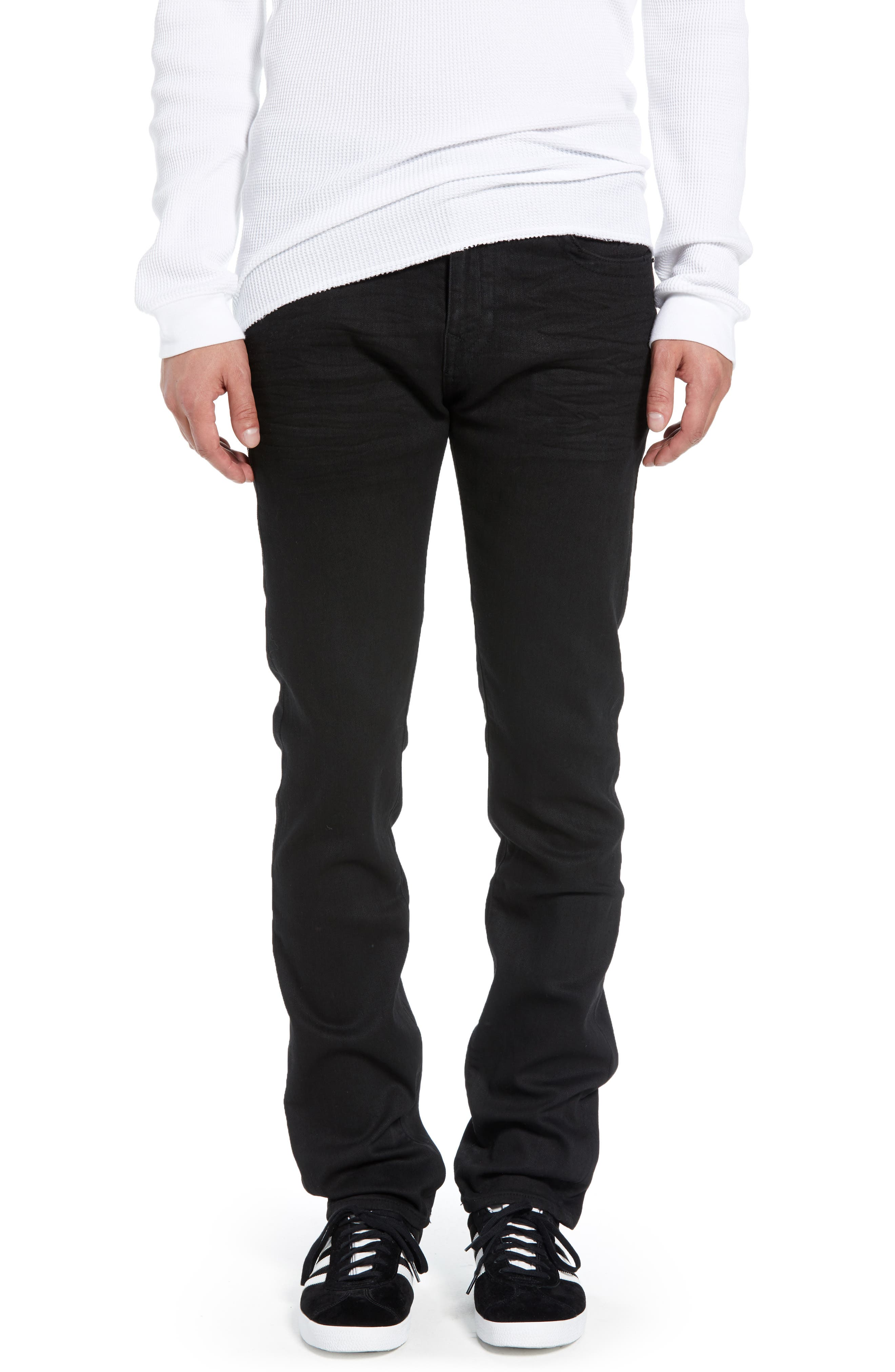 Rocco Skinny Fit Jeans,                             Main thumbnail 1, color,                             MIDNIGHT BLACK COATED