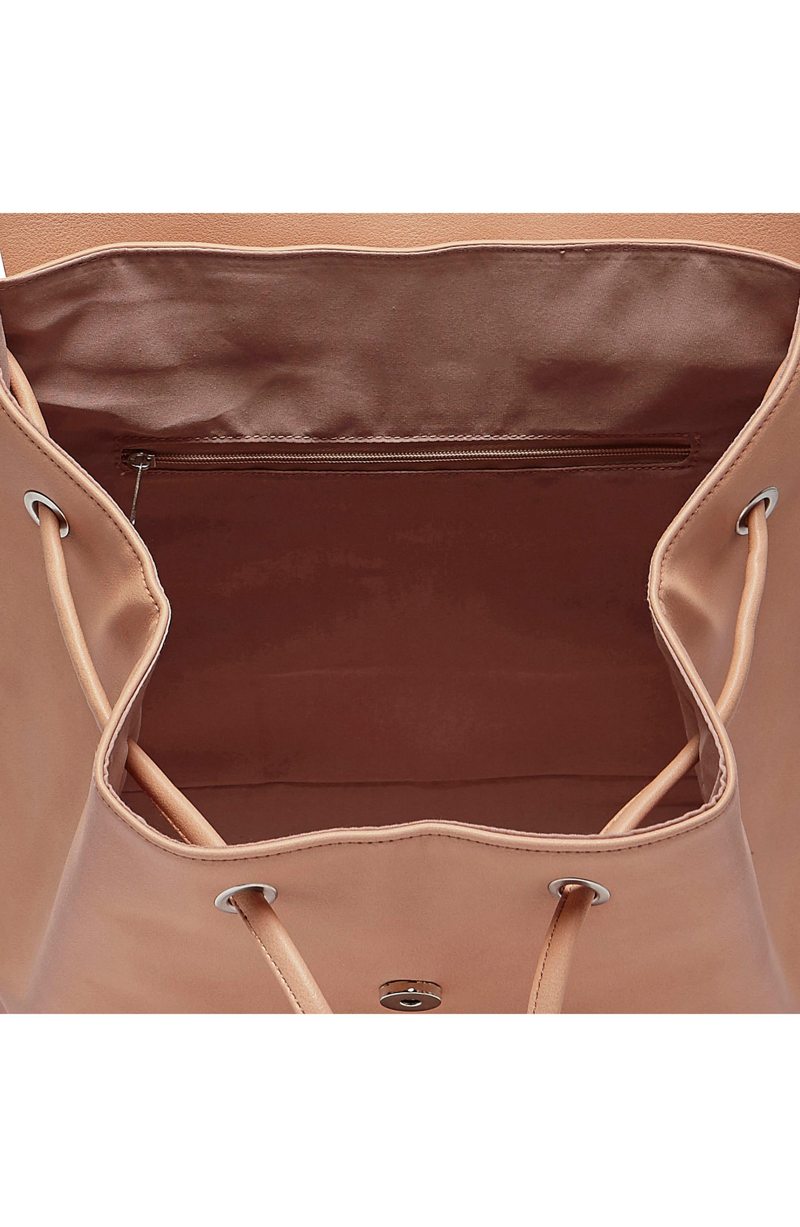 Midnight Vegan Leather Flap Backpack,                             Alternate thumbnail 6, color,