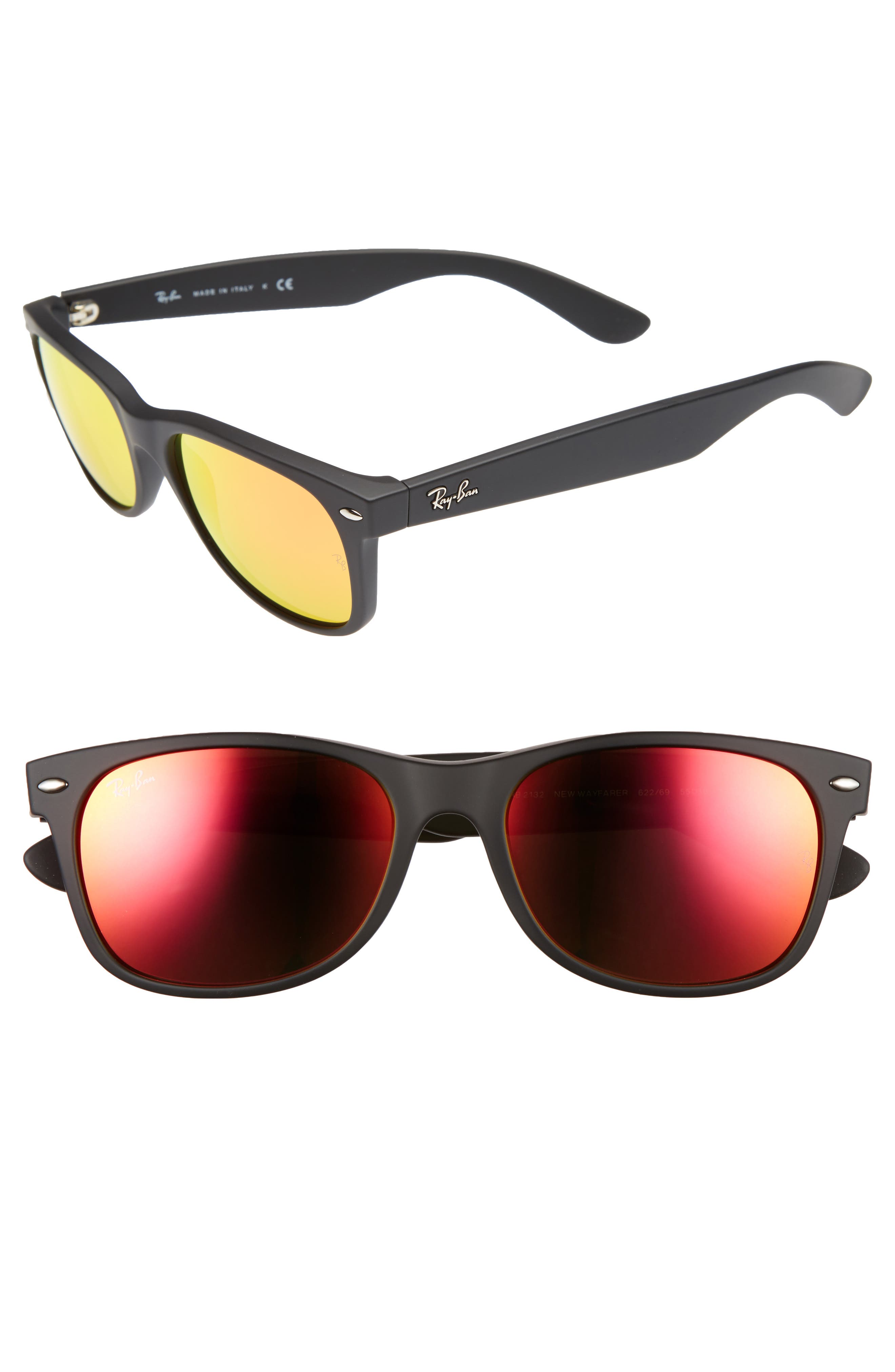 Ray-Ban 2132 55Mm Sunglasses - Black/ Brown Mirror Red