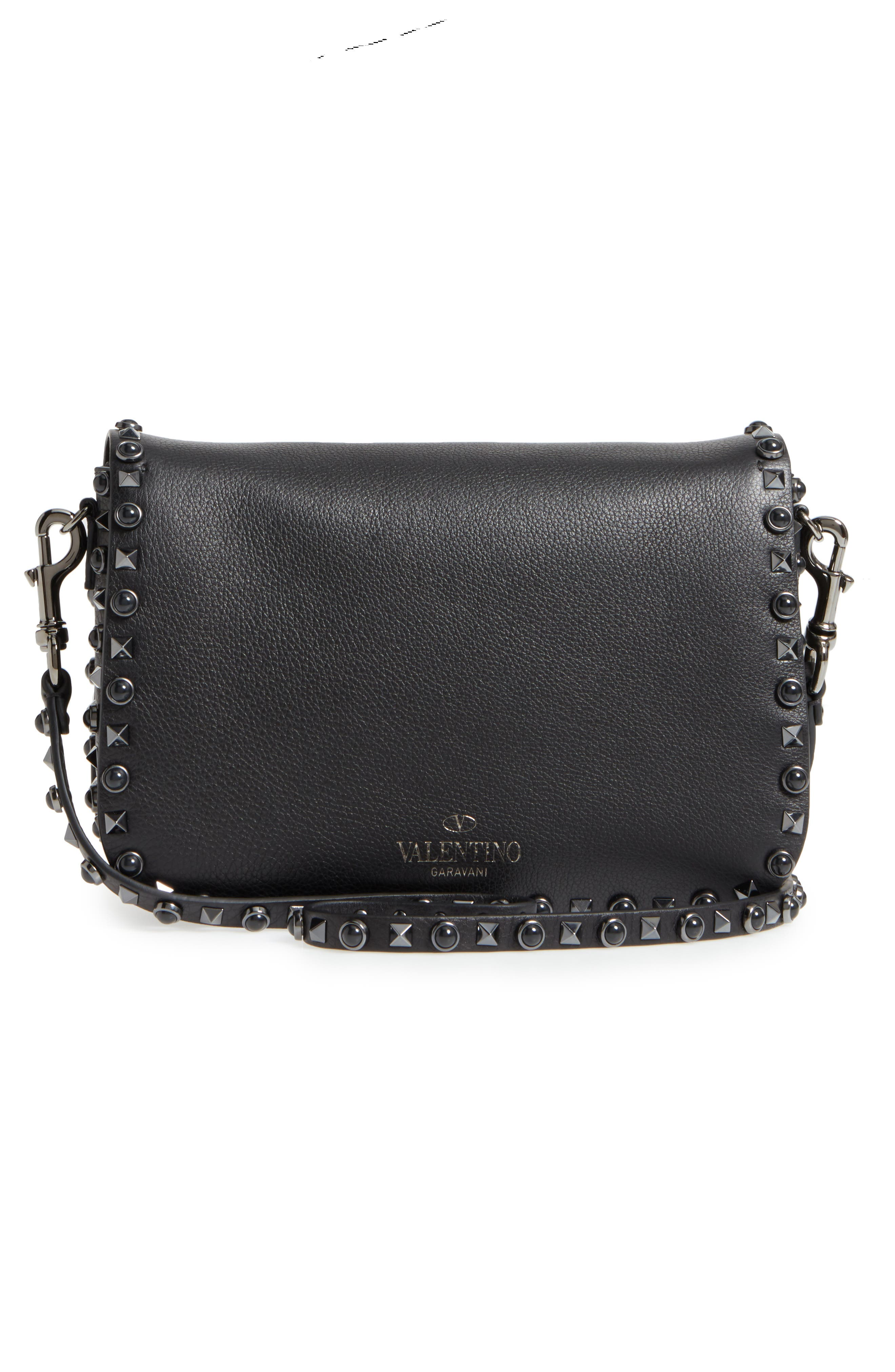 Rockstud Leather Shoulder Bag,                             Alternate thumbnail 3, color,                             NERO