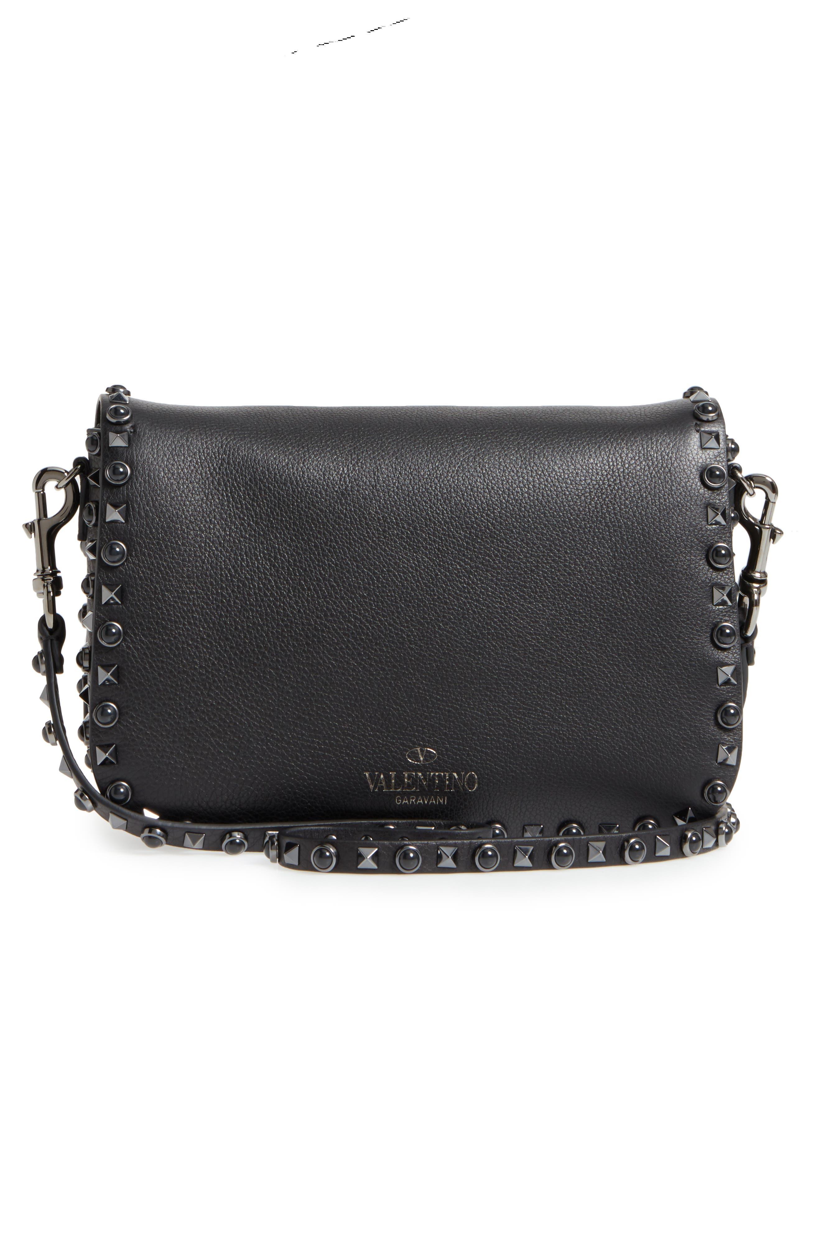 Rockstud Leather Shoulder Bag,                             Alternate thumbnail 3, color,                             001