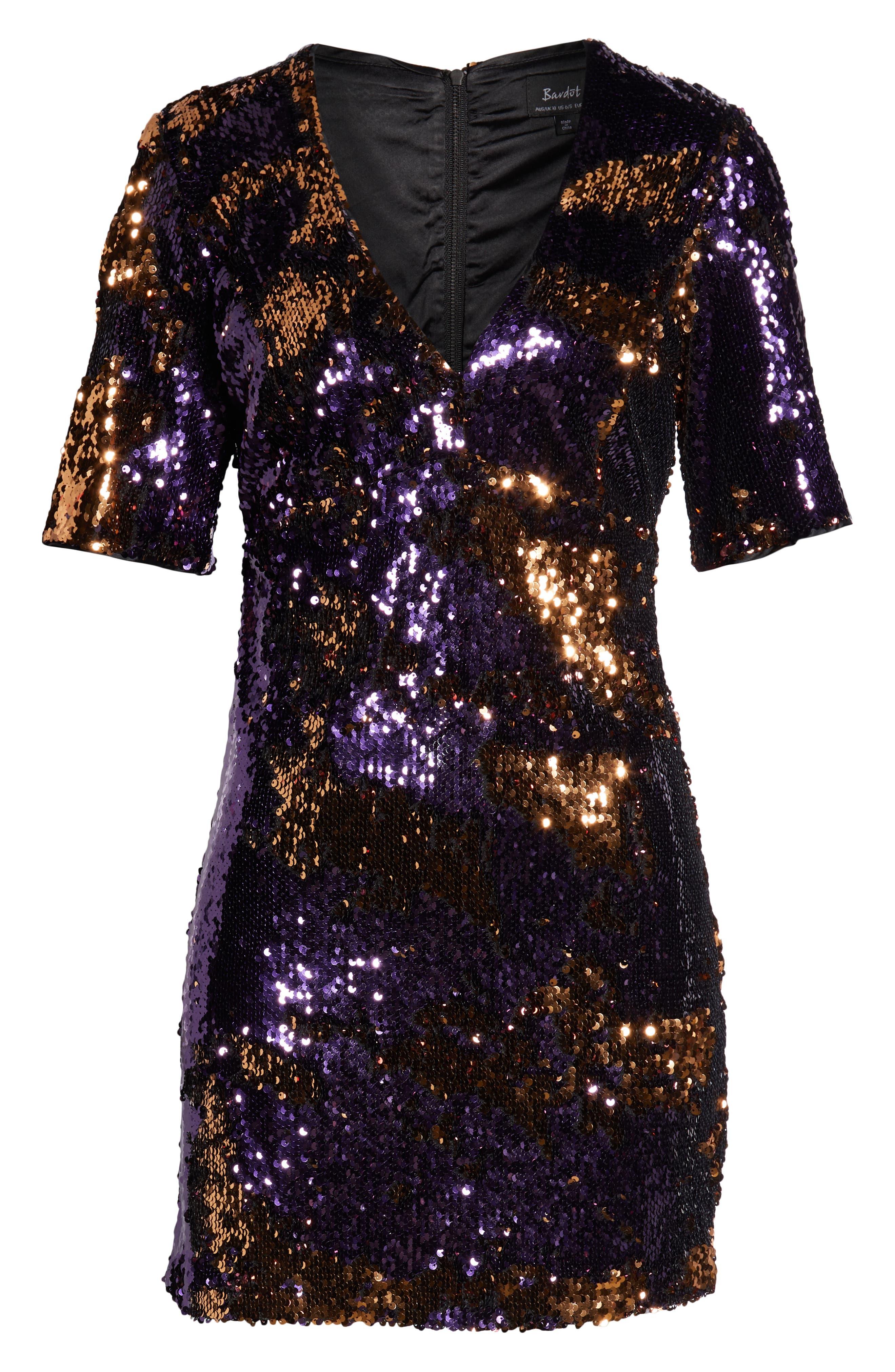 Sequin Embellished Dress,                             Alternate thumbnail 6, color,                             GOLD/ PURPLE