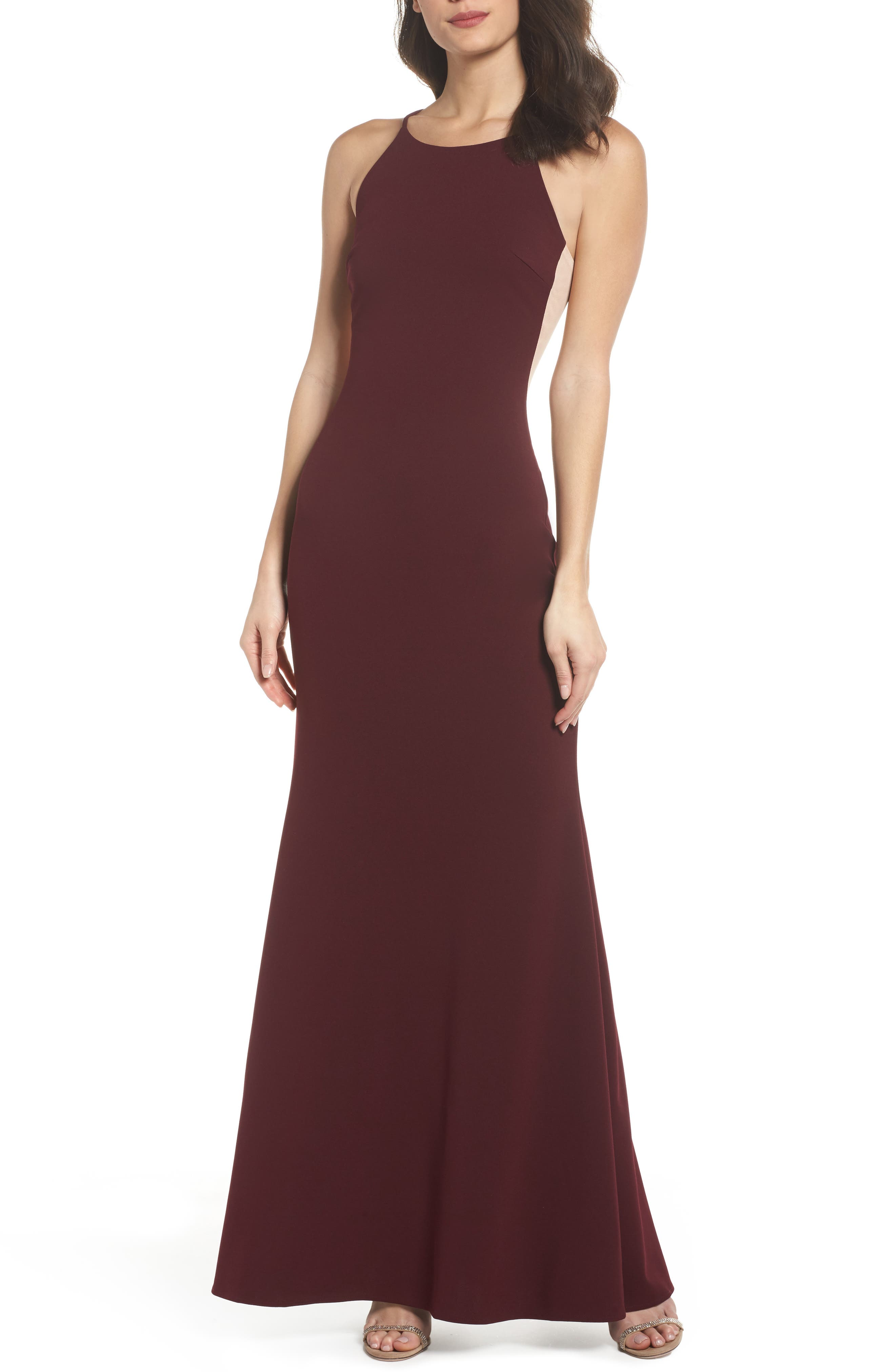 Contrast Side Trumpet Gown,                         Main,                         color, BURGUNDY